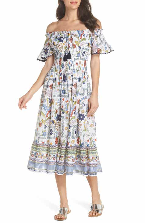 4f252500289 Tory Burch Meadow Folly Off the Shoulder Cover-Up Dress