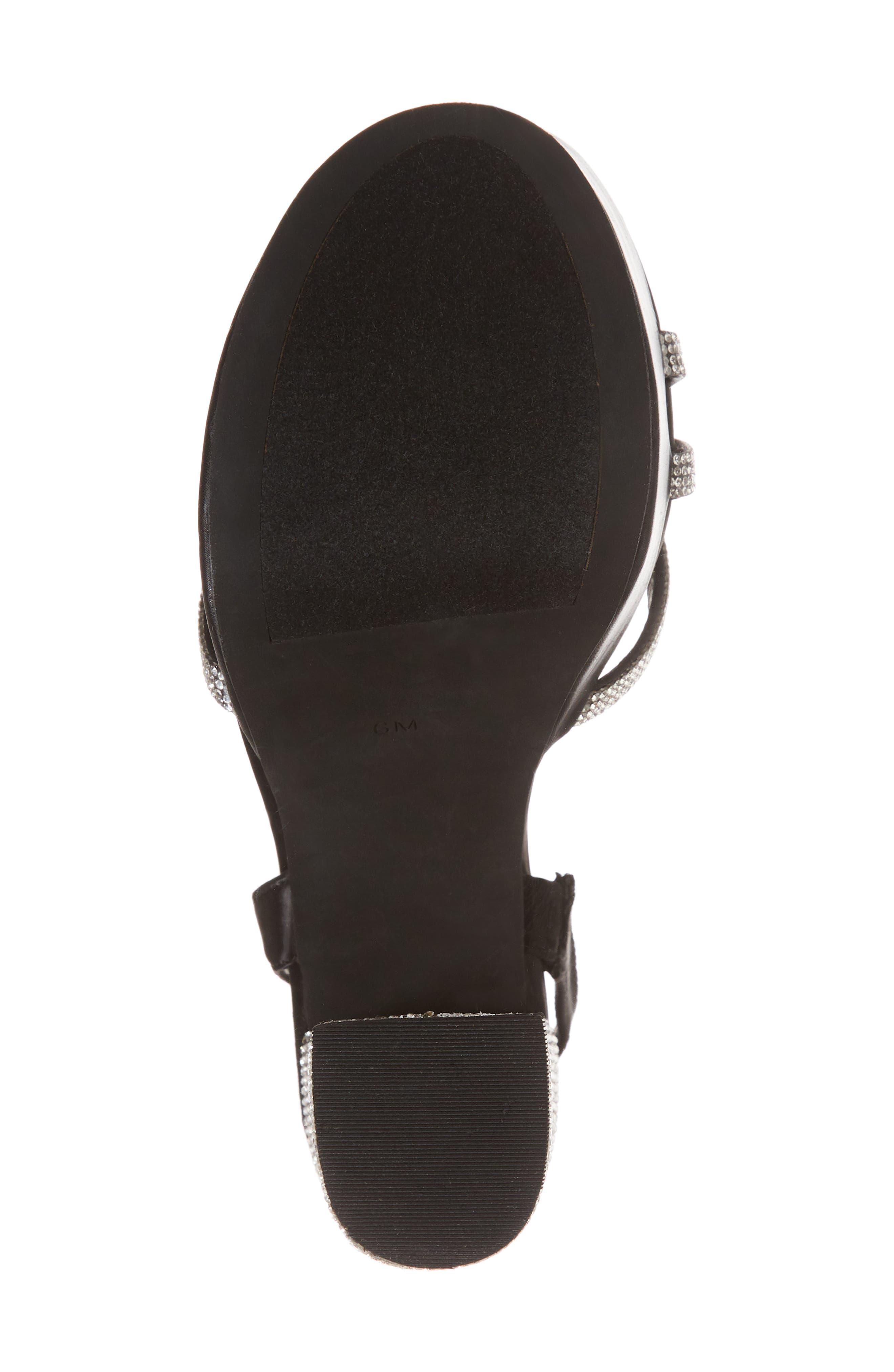 Upset Embellished Platform Sandal,                             Alternate thumbnail 6, color,                             Black Satin/ Silver