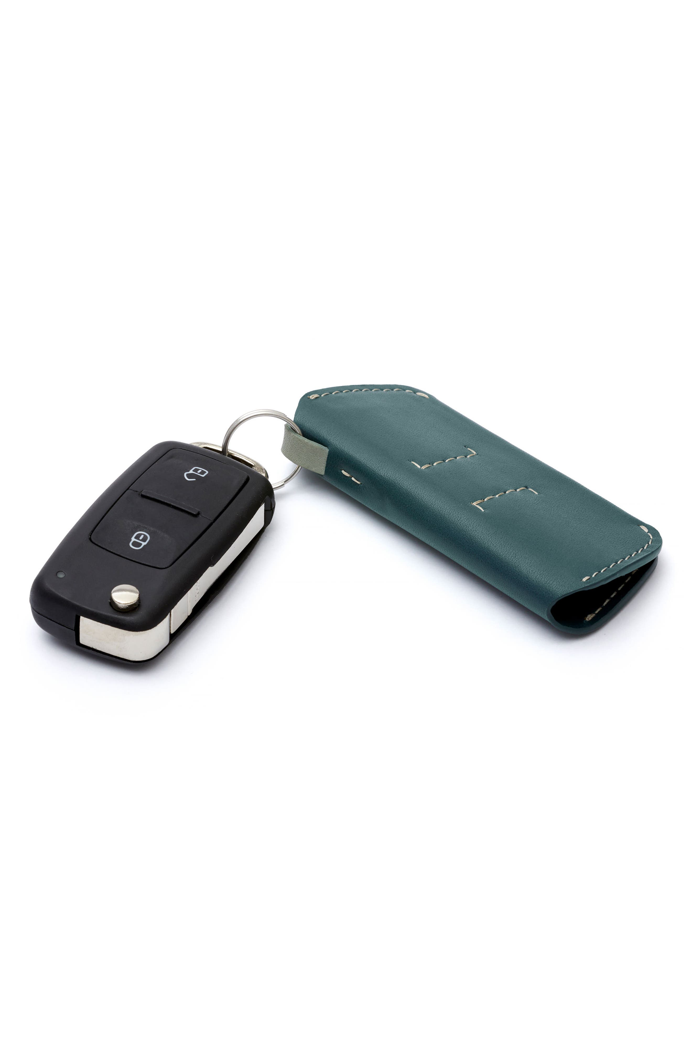 Leather Key Cover Plus,                             Alternate thumbnail 2, color,                             Teal