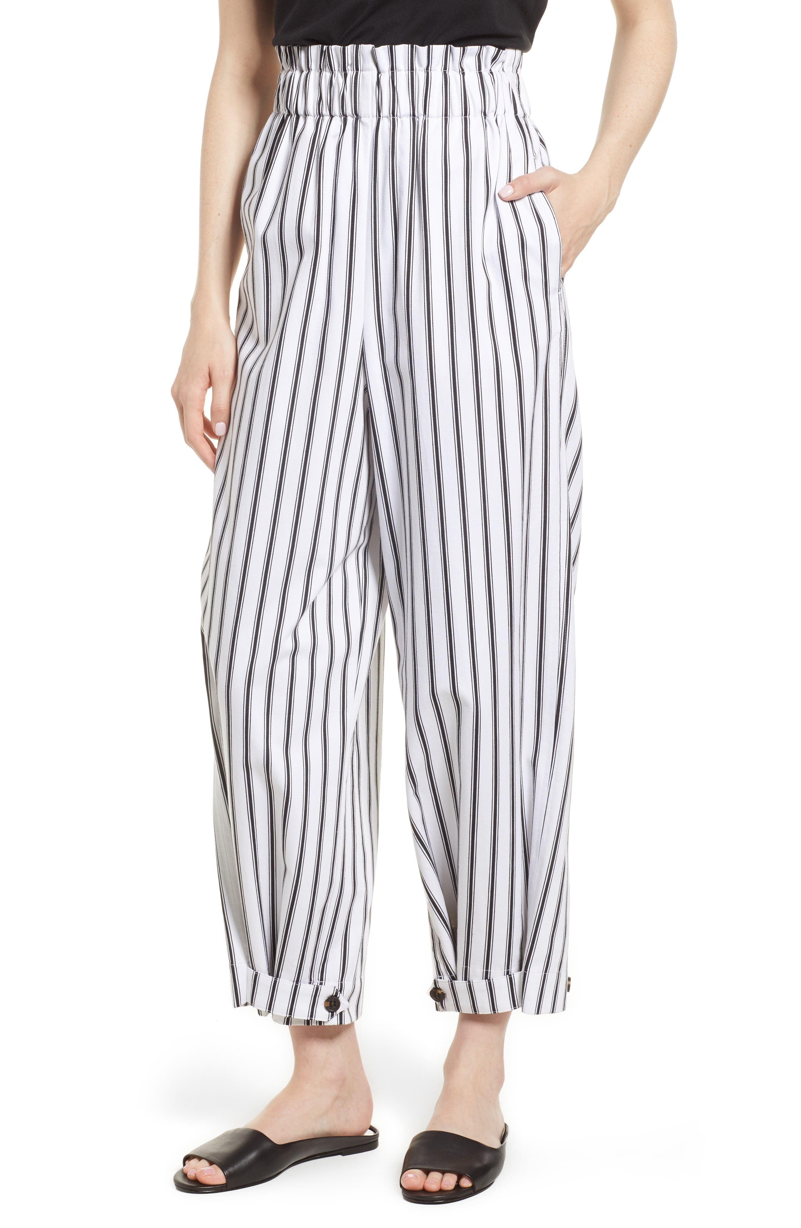 High Waist Convertible Wide Leg Pants,                         Main,                         color, Black/ White Striped