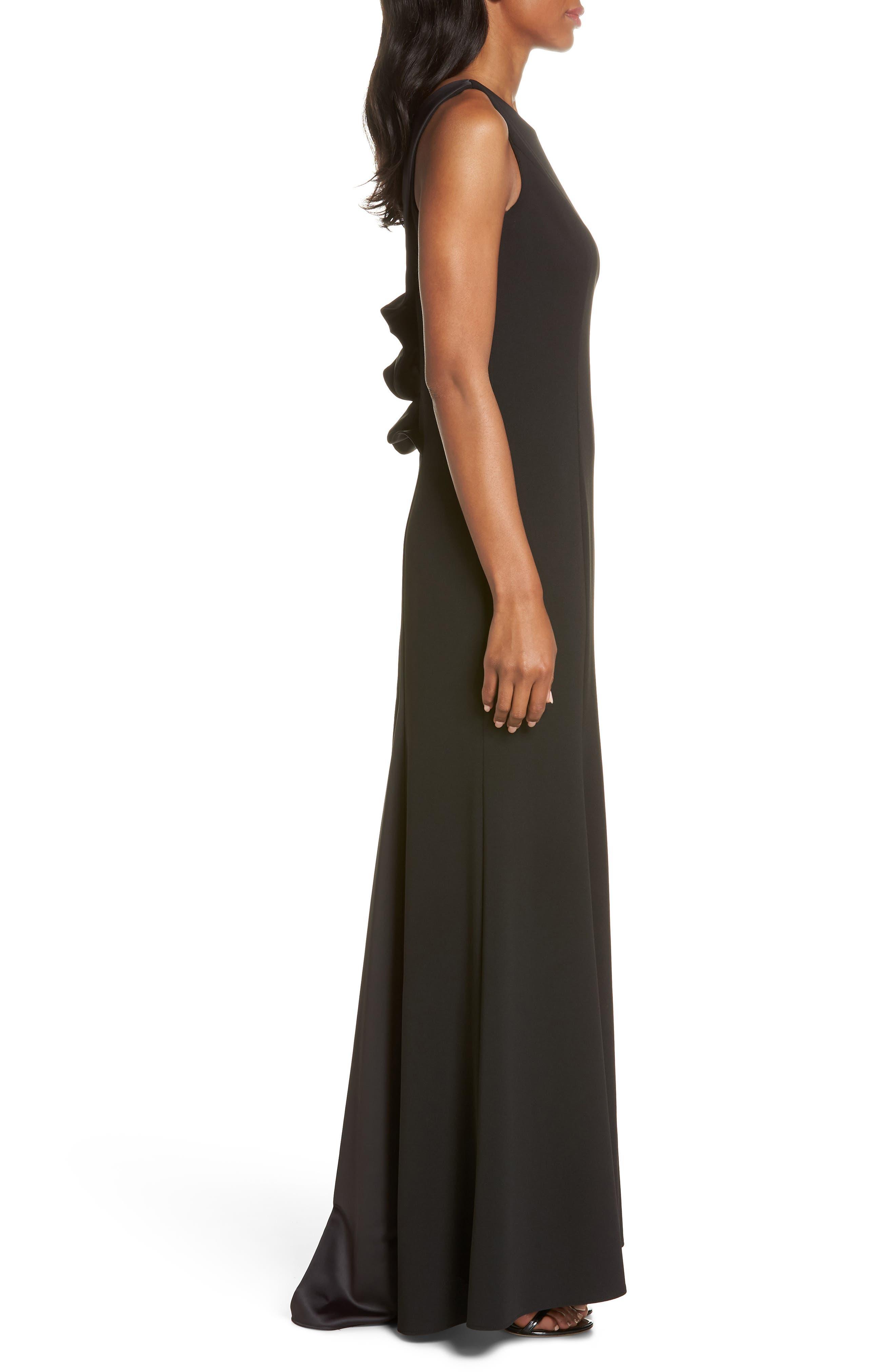 Ruffle Back Scuba Crepe Gown,                             Alternate thumbnail 3, color,                             Black