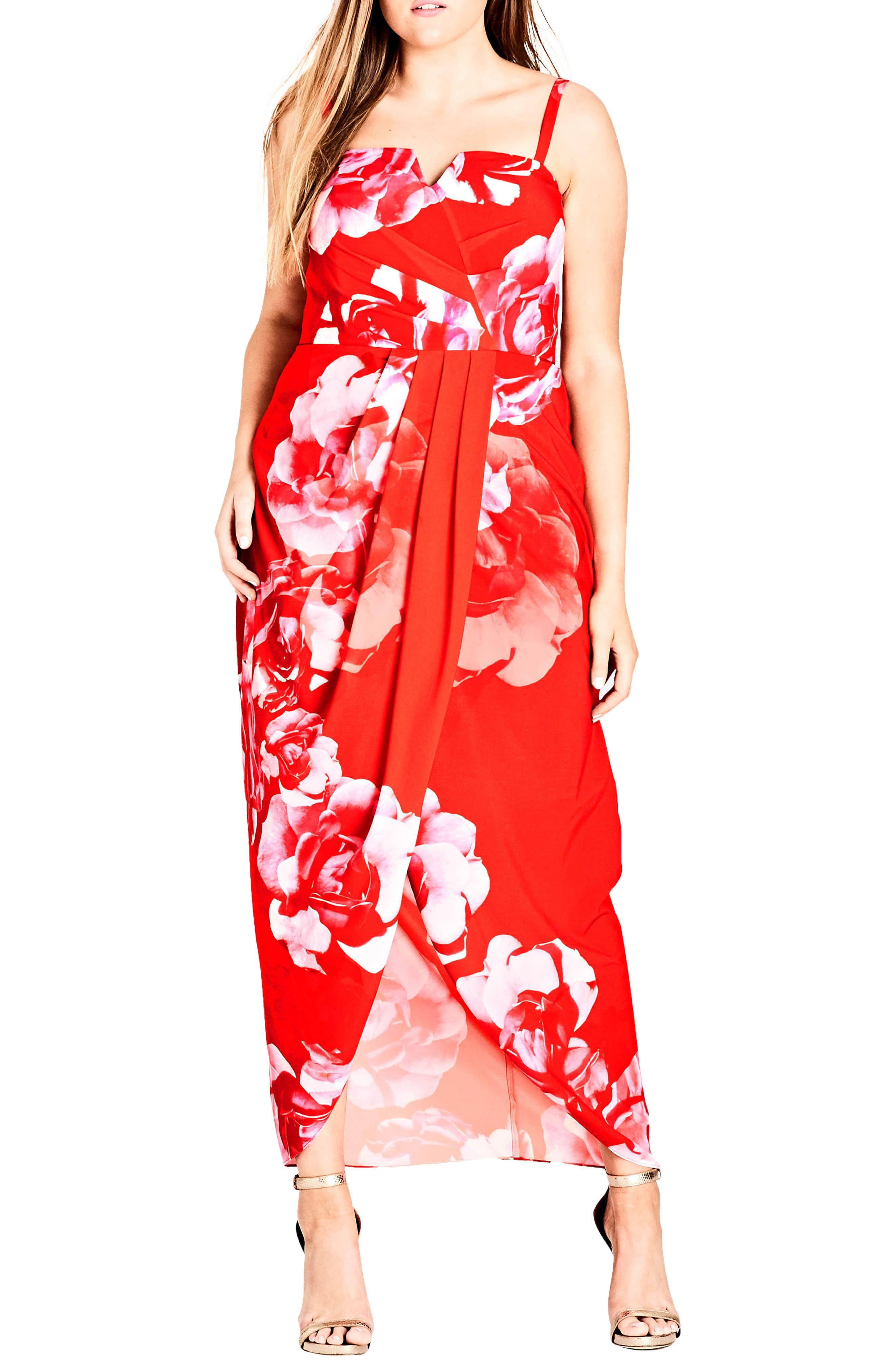 Tango Floral Strapless Maxi Dress,                             Alternate thumbnail 3, color,                             Tango Floral
