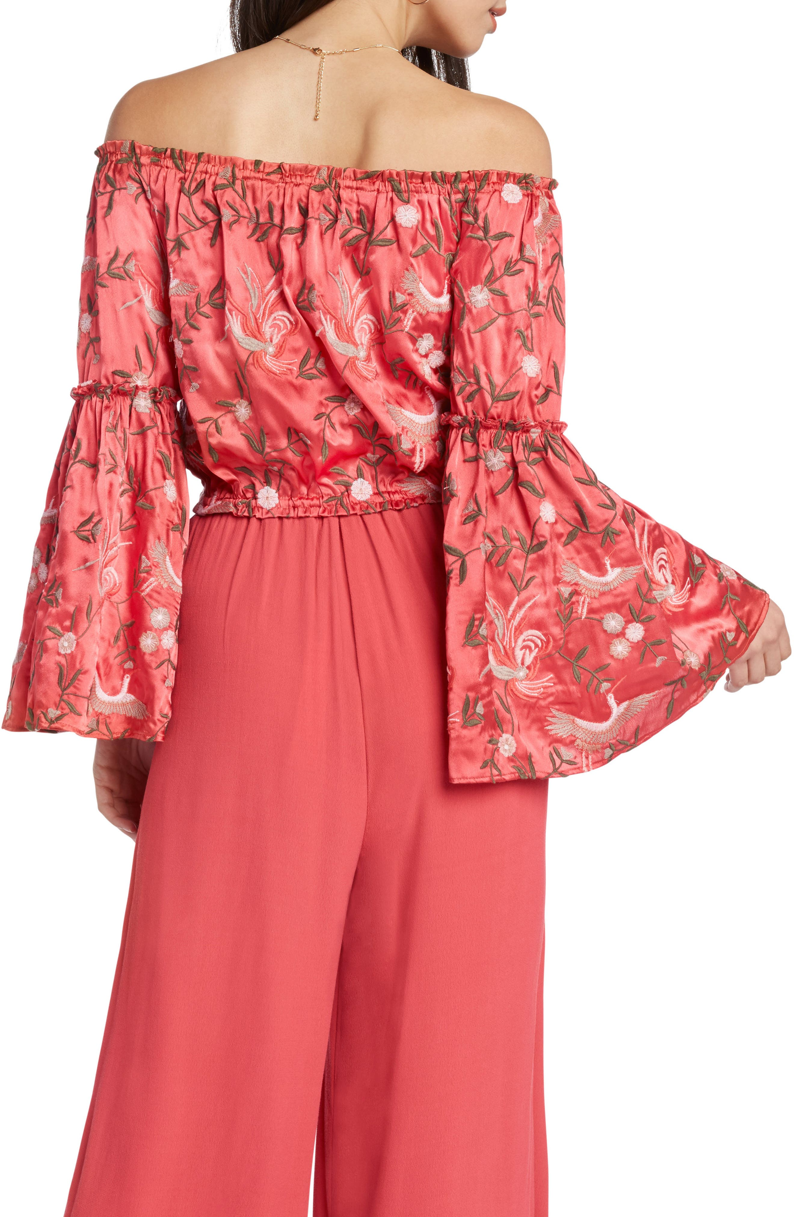 Embroidered Off the Shoulder Top,                             Alternate thumbnail 2, color,                             Coral