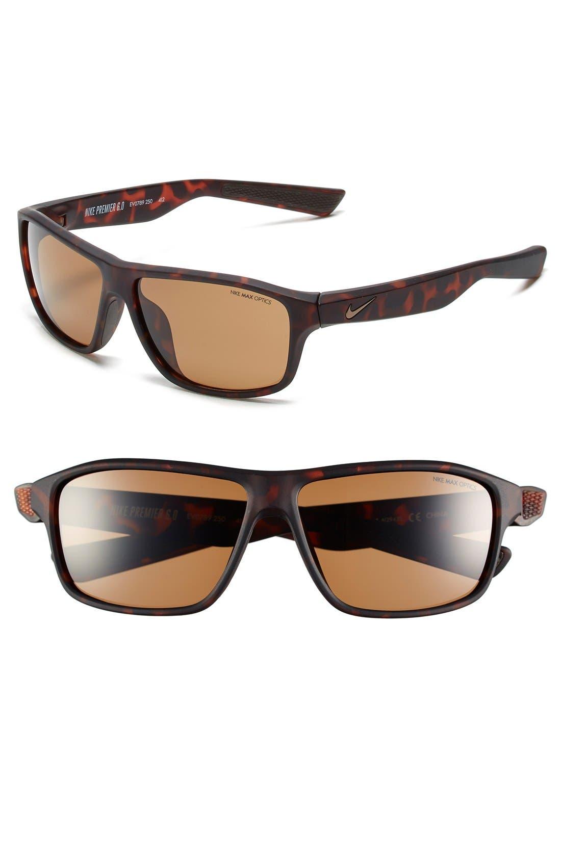 59mm 'Premier 6.0' Performance Sunglasses,                         Main,                         color, Matte Tortoise