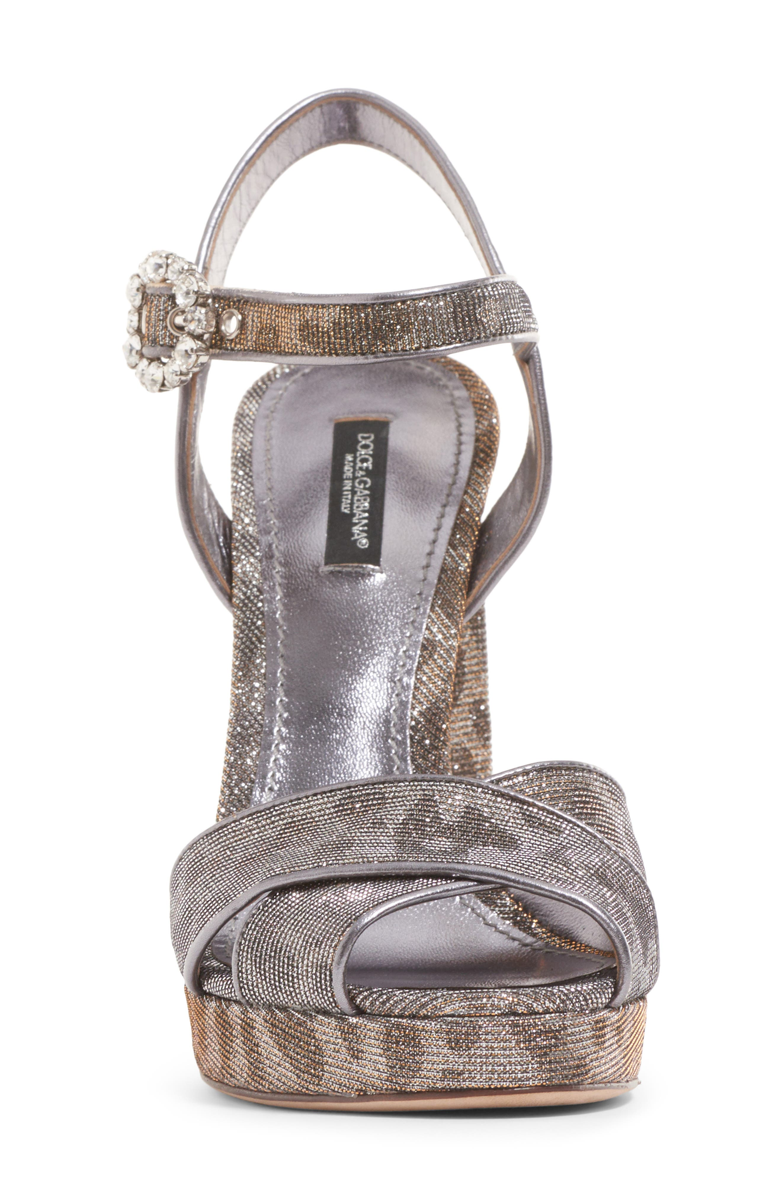 Alternate Image 4  - Dolce&Gabbana Metallic Leopard Print Sandal (Women)