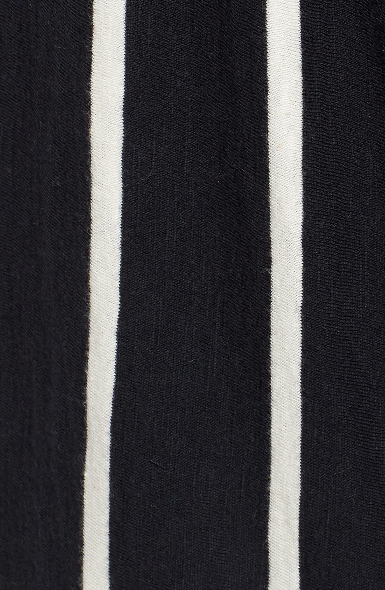 Stripe Organic Cotton Capri Pants,                             Alternate thumbnail 6, color,                             Black/ White