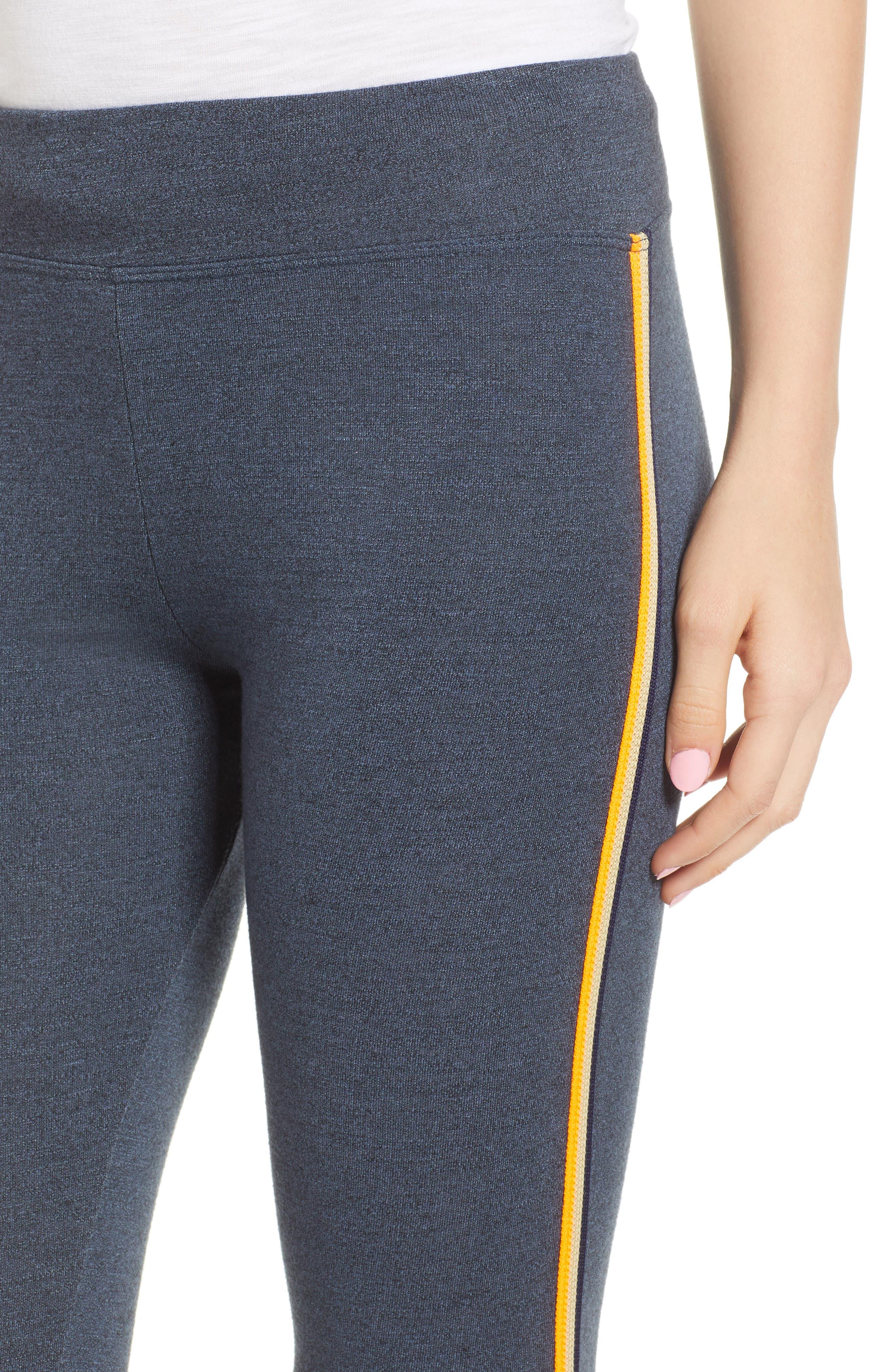 Side Stripe Yoga Pants,                             Alternate thumbnail 4, color,                             Navy