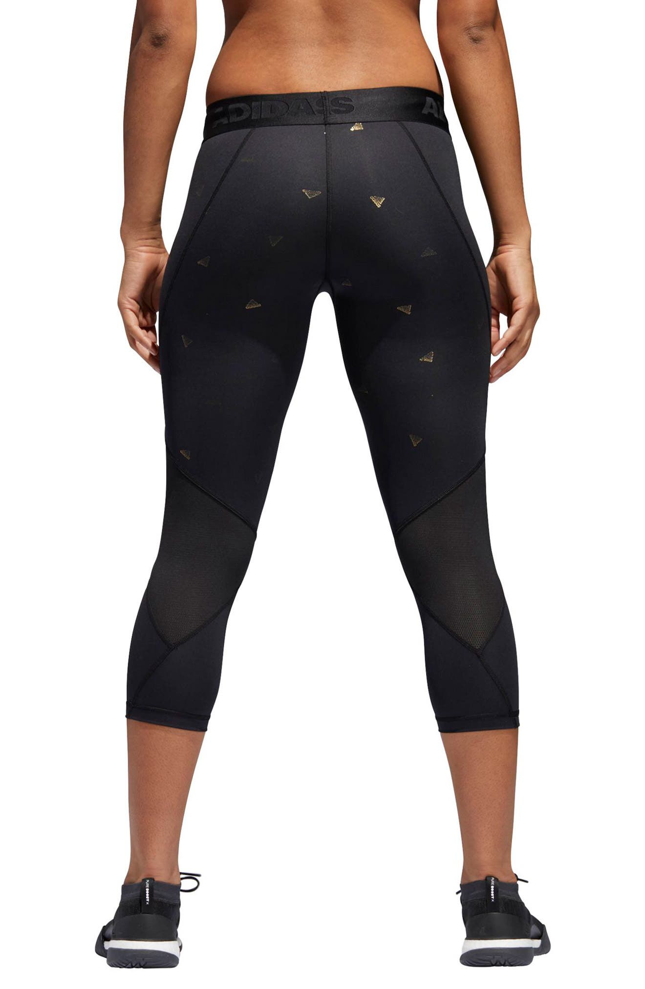 Alphaskin Sport Capri Leggings,                             Alternate thumbnail 2, color,                             Black / Print