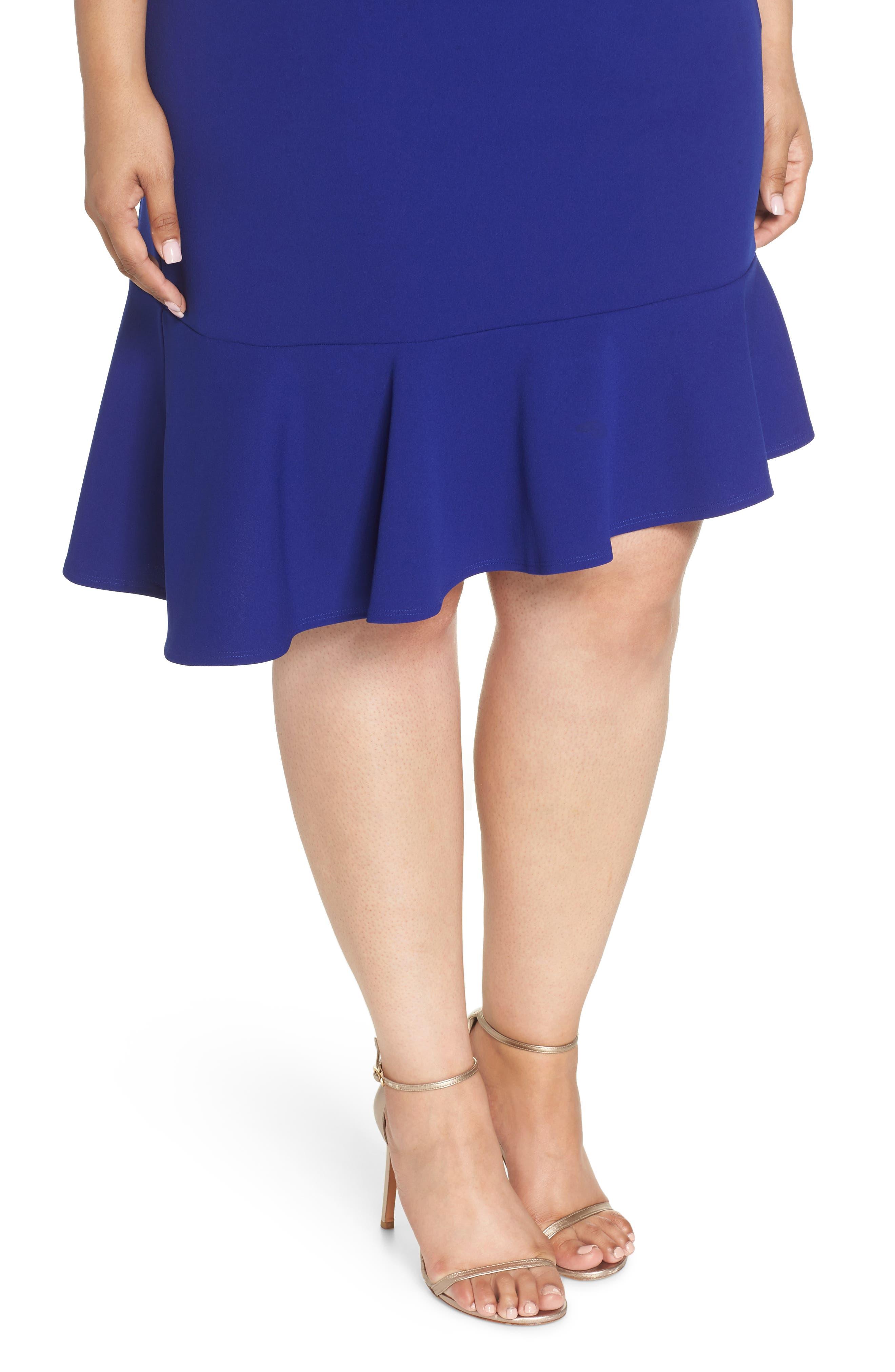 Ruffle Hem Scuba Crepe Body-Con Dress,                             Alternate thumbnail 4, color,                             Cobalt