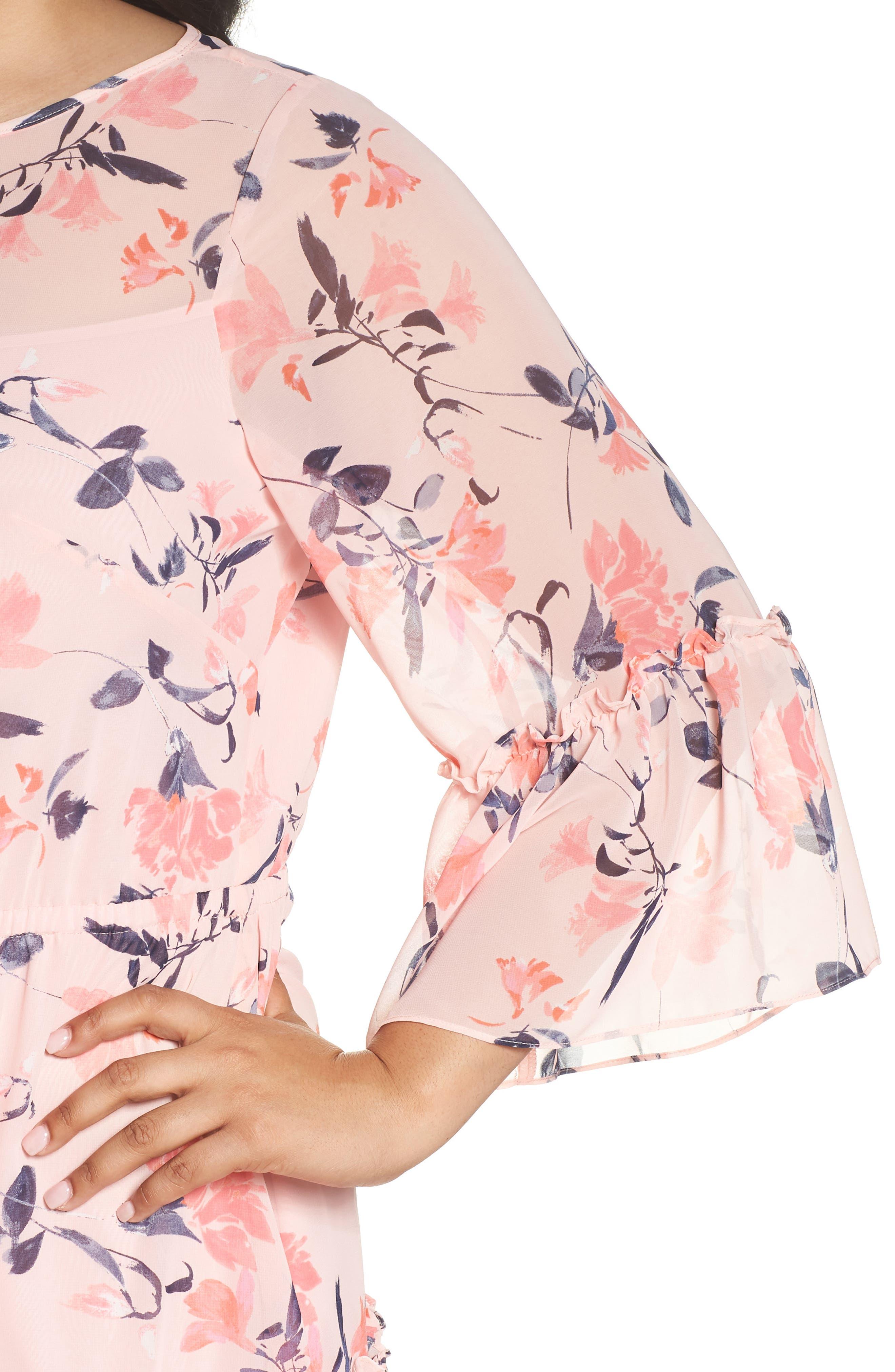 Elza J Floral Bell Sleeve Chiffon Dress,                             Alternate thumbnail 4, color,                             Blush