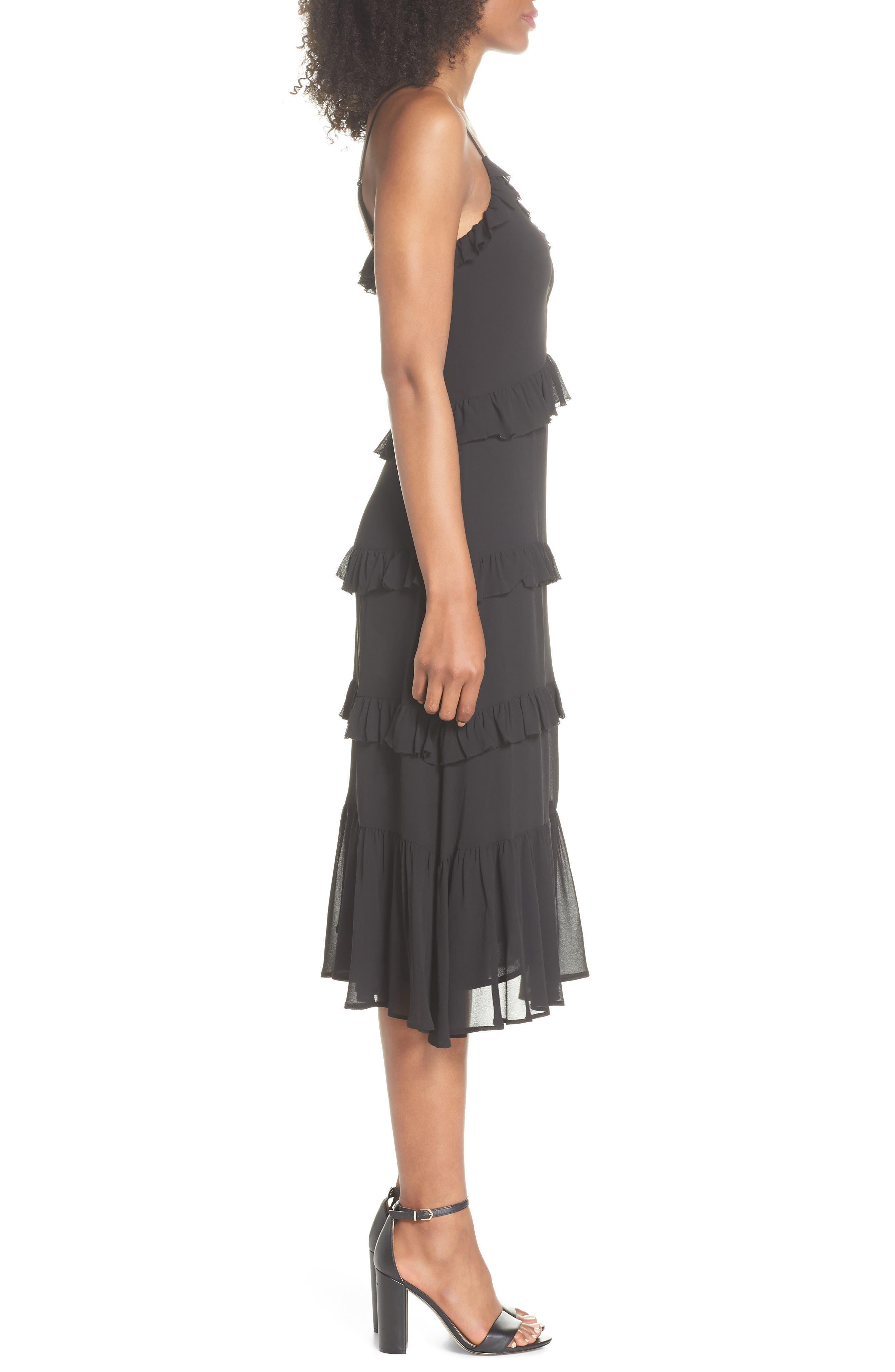 Tiered Ruffle Midi Dress,                             Alternate thumbnail 3, color,                             Black