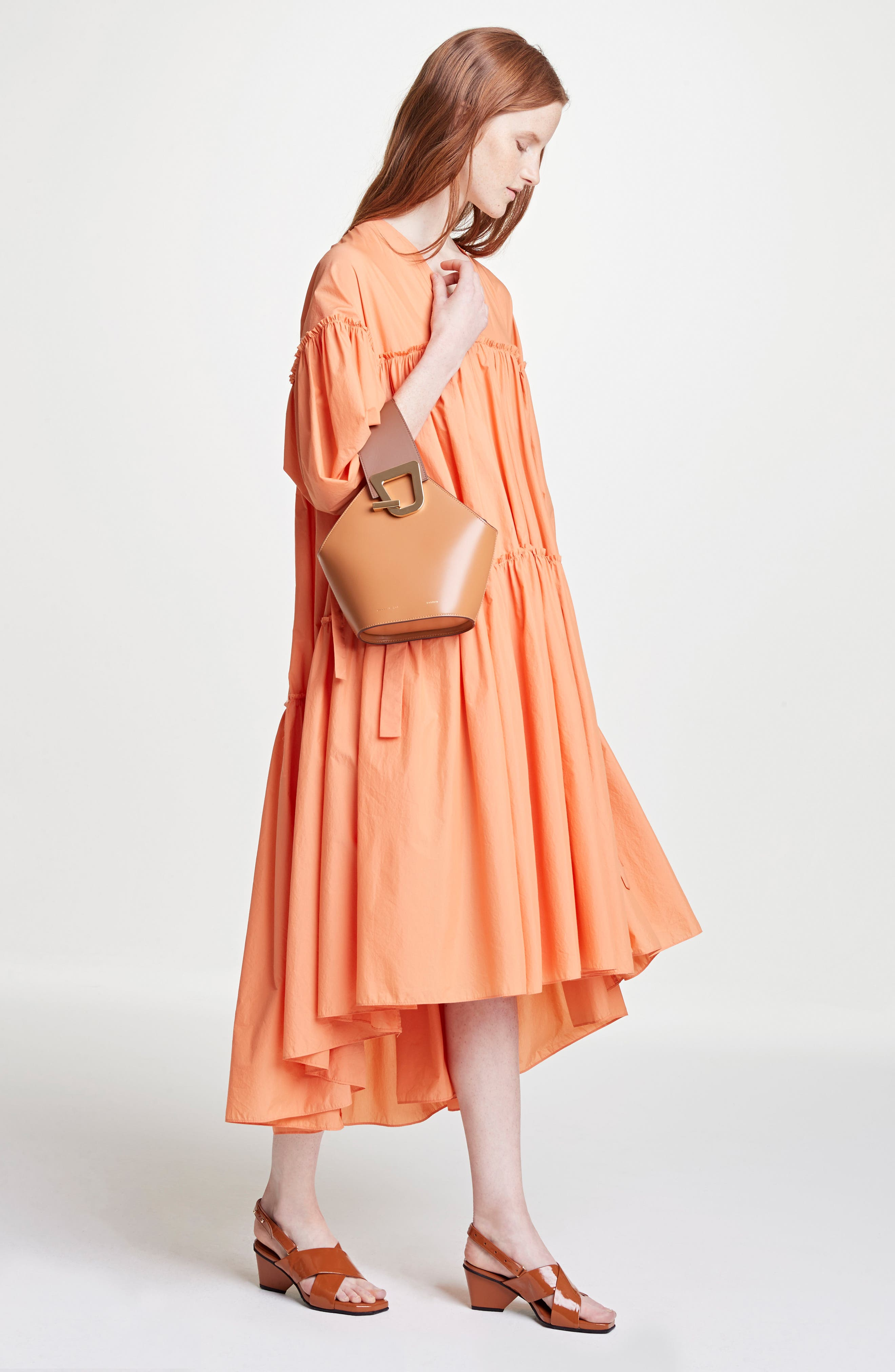 Sara Tiered Shift Dress,                             Alternate thumbnail 2, color,                             Cotton Orange