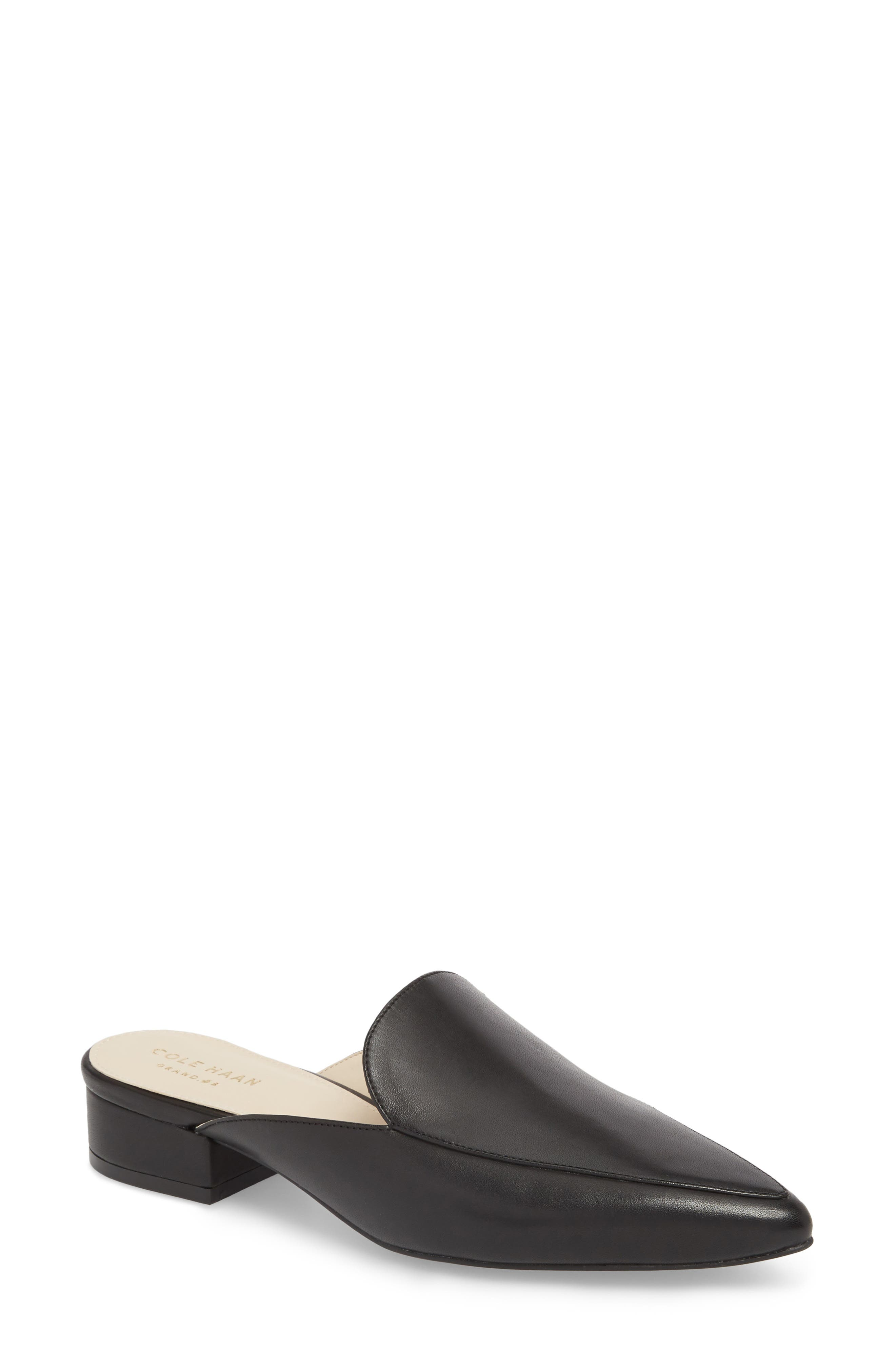 Piper Loafer Mule,                             Main thumbnail 1, color,                             Black Leather