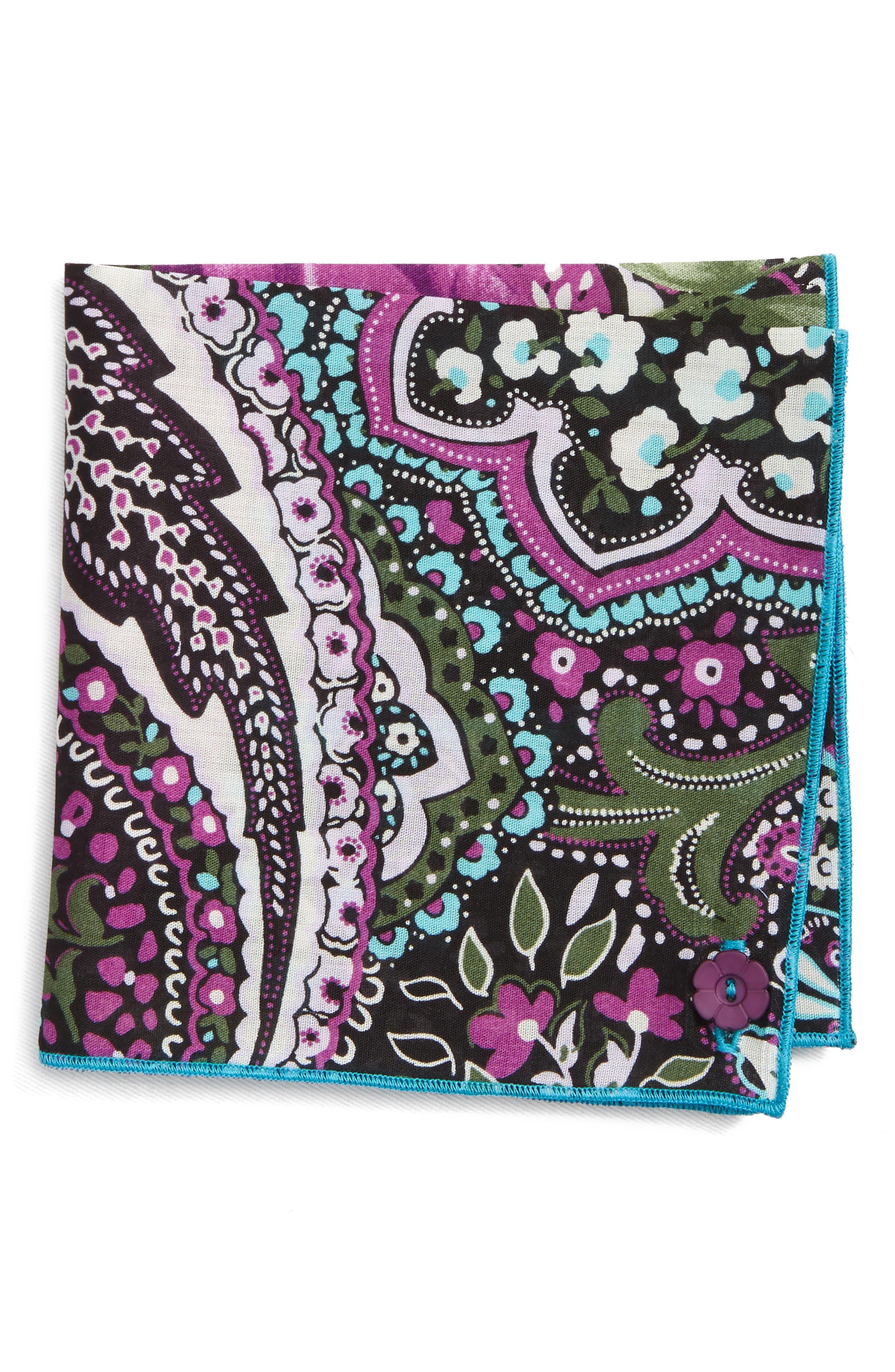 Purple Rose Cotton Pocket Square,                             Main thumbnail 1, color,                             Purple