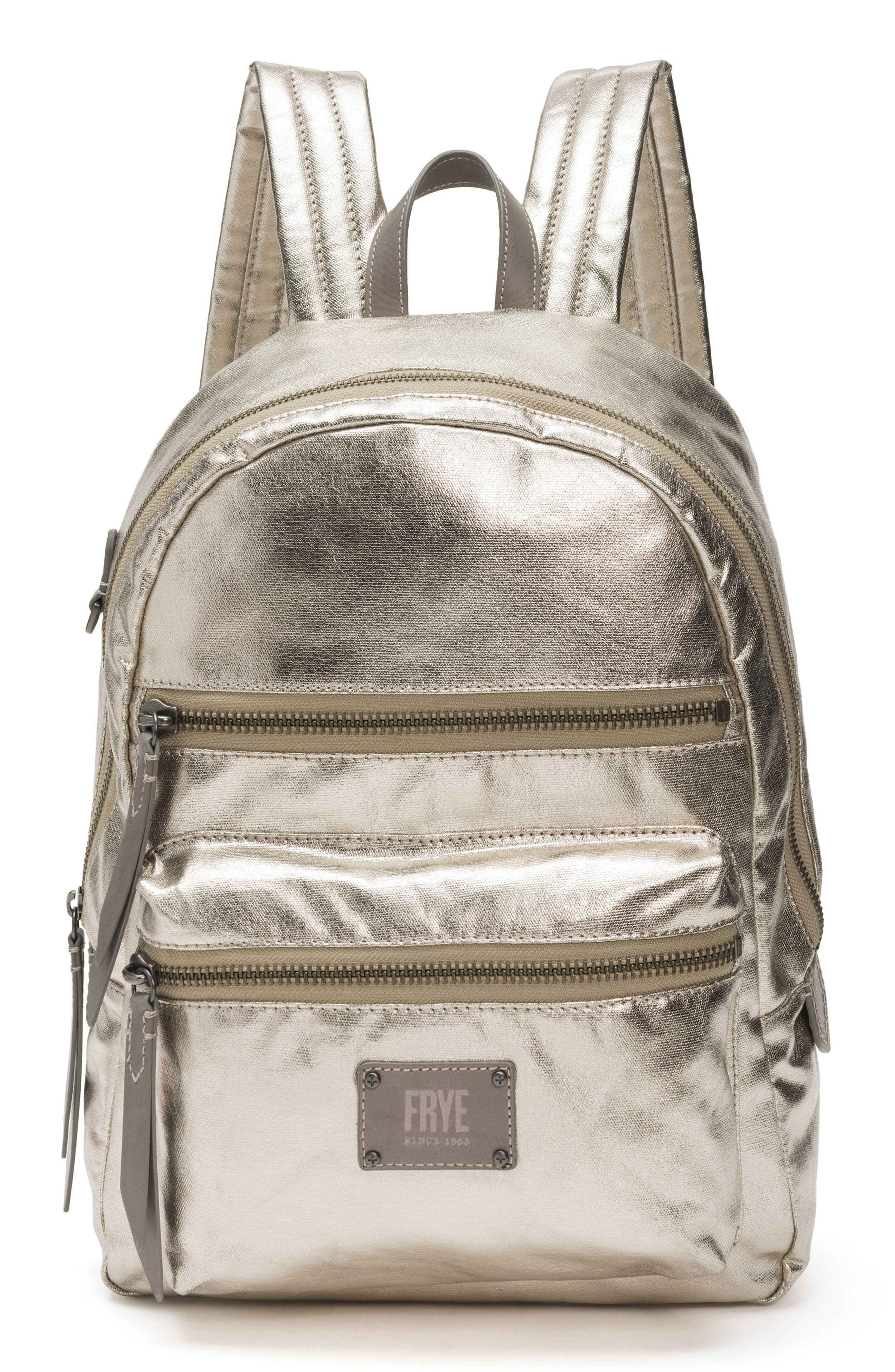 Ivy Metallic Nylon Backpack,                         Main,                         color, Pewter