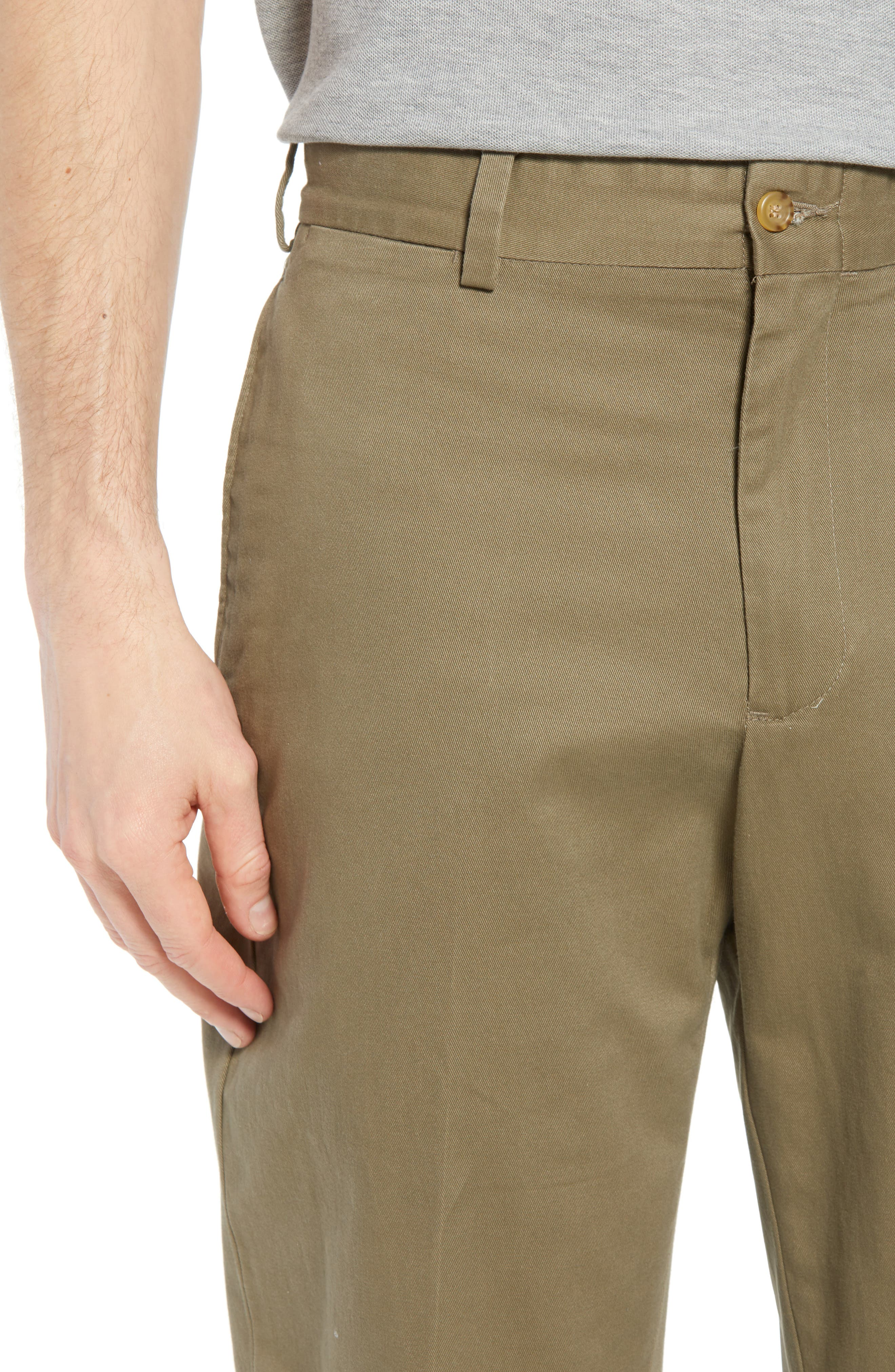 M2 Classic Fit Flat Front Vintage Twill Pants,                             Alternate thumbnail 4, color,                             Olive