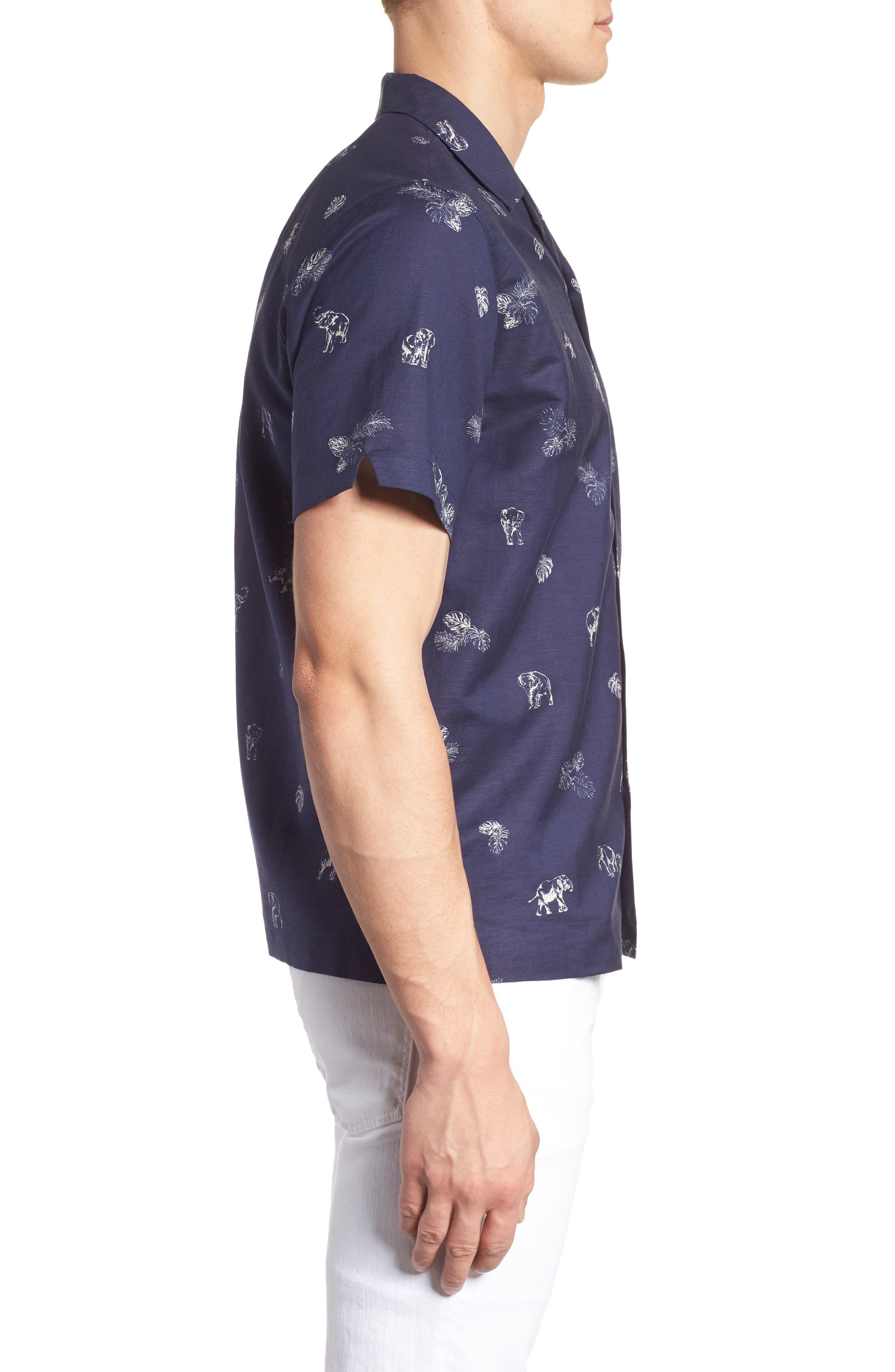 Sanctuary Trim Fit Linen & Cotton Camp Shirt,                             Alternate thumbnail 5, color,                             Navy