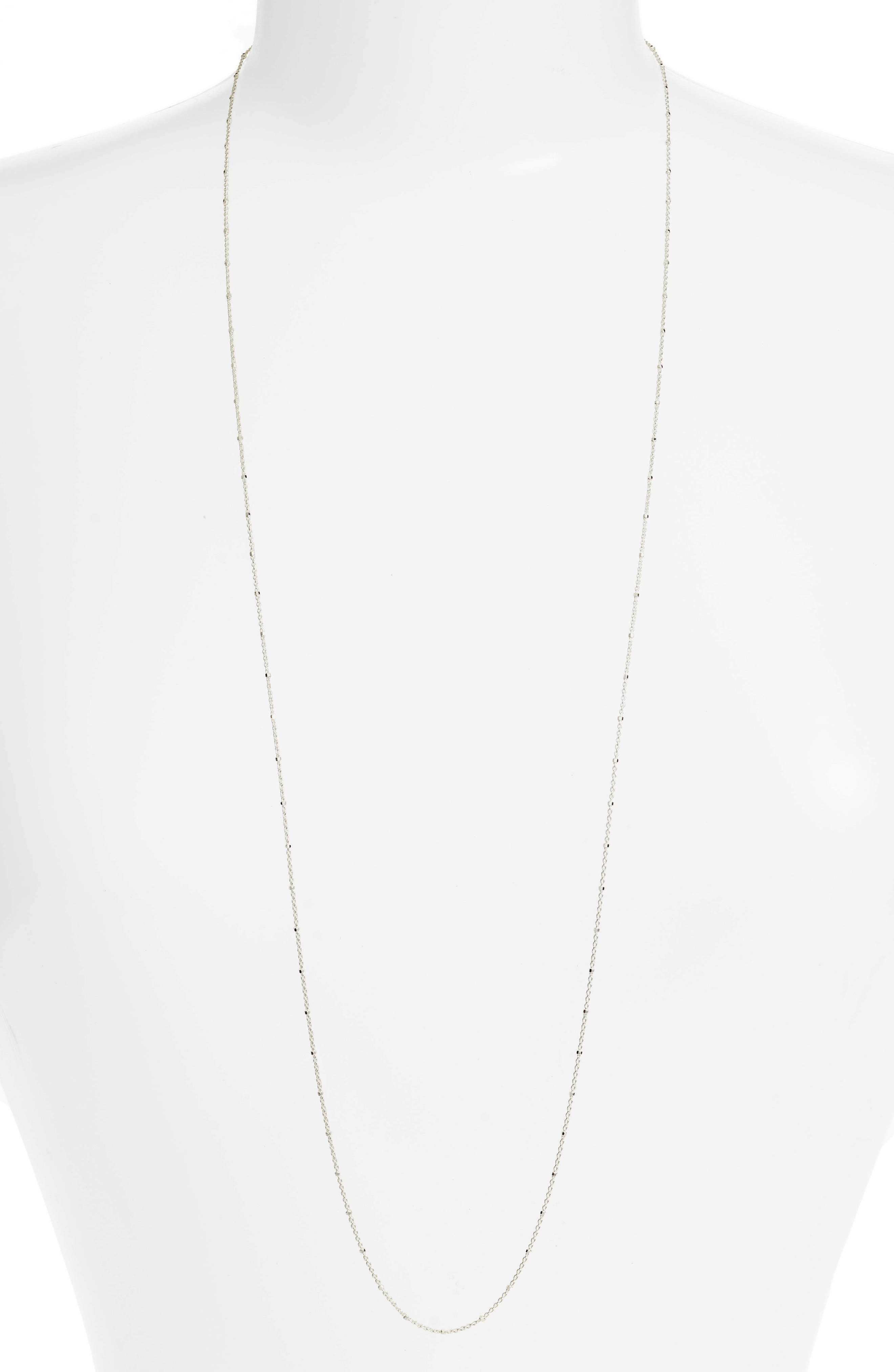 Cylinder Bead Necklace,                         Main,                         color, Silver