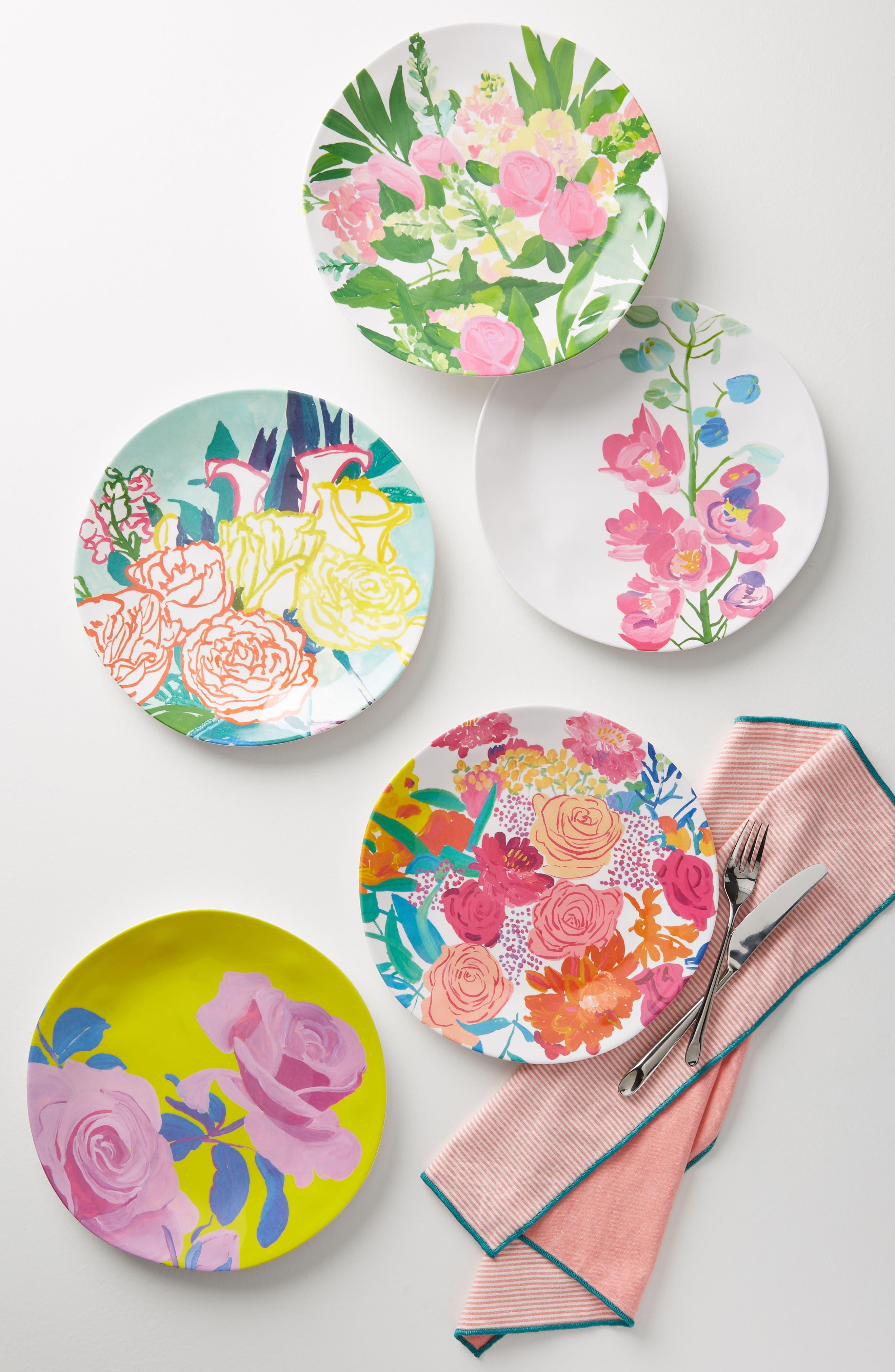 Paint + Petals Melamine Plate,                             Main thumbnail 1, color,                             Turquoise