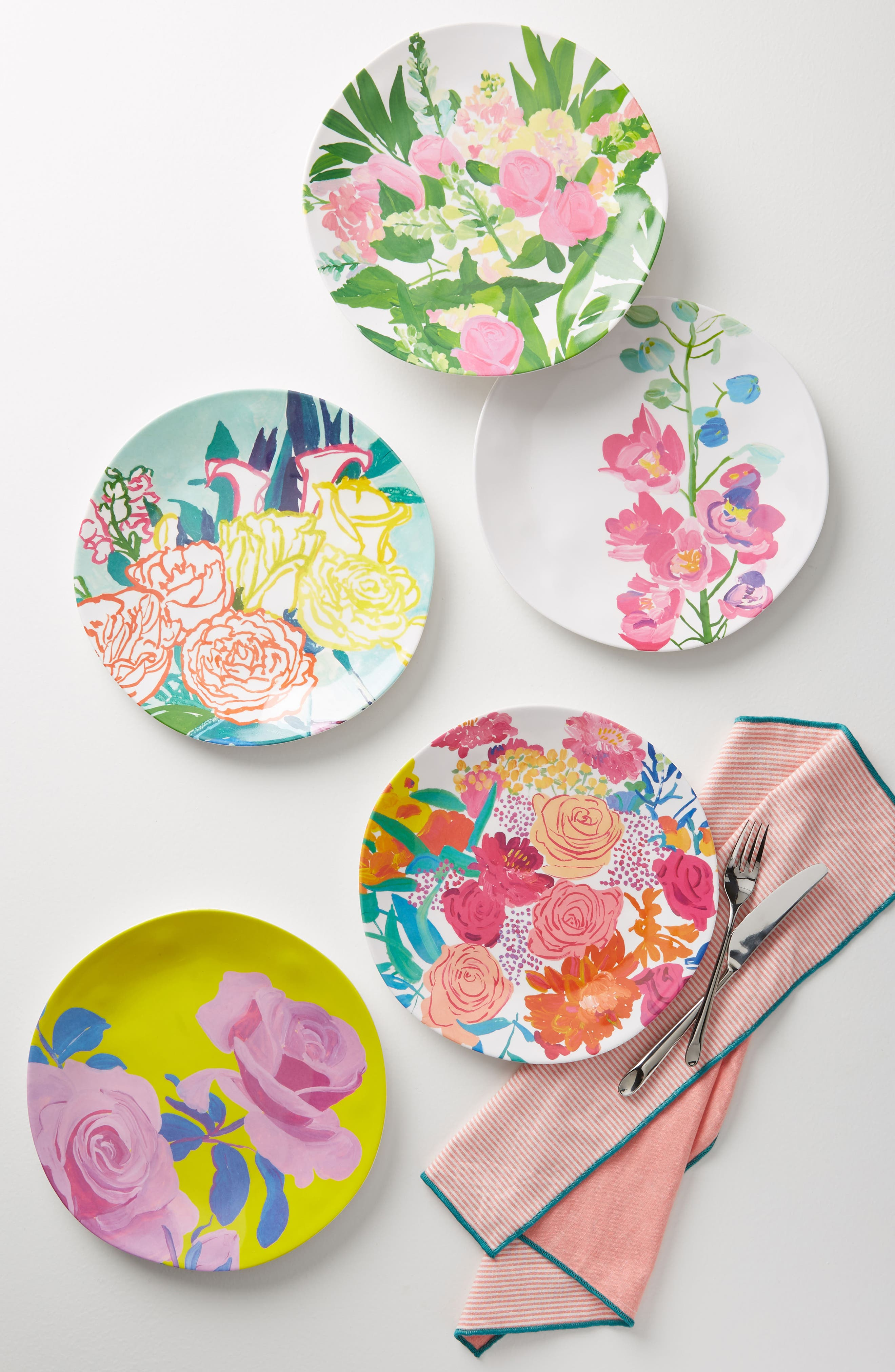 Paint + Petals Melamine Plate,                         Main,                         color, Turquoise