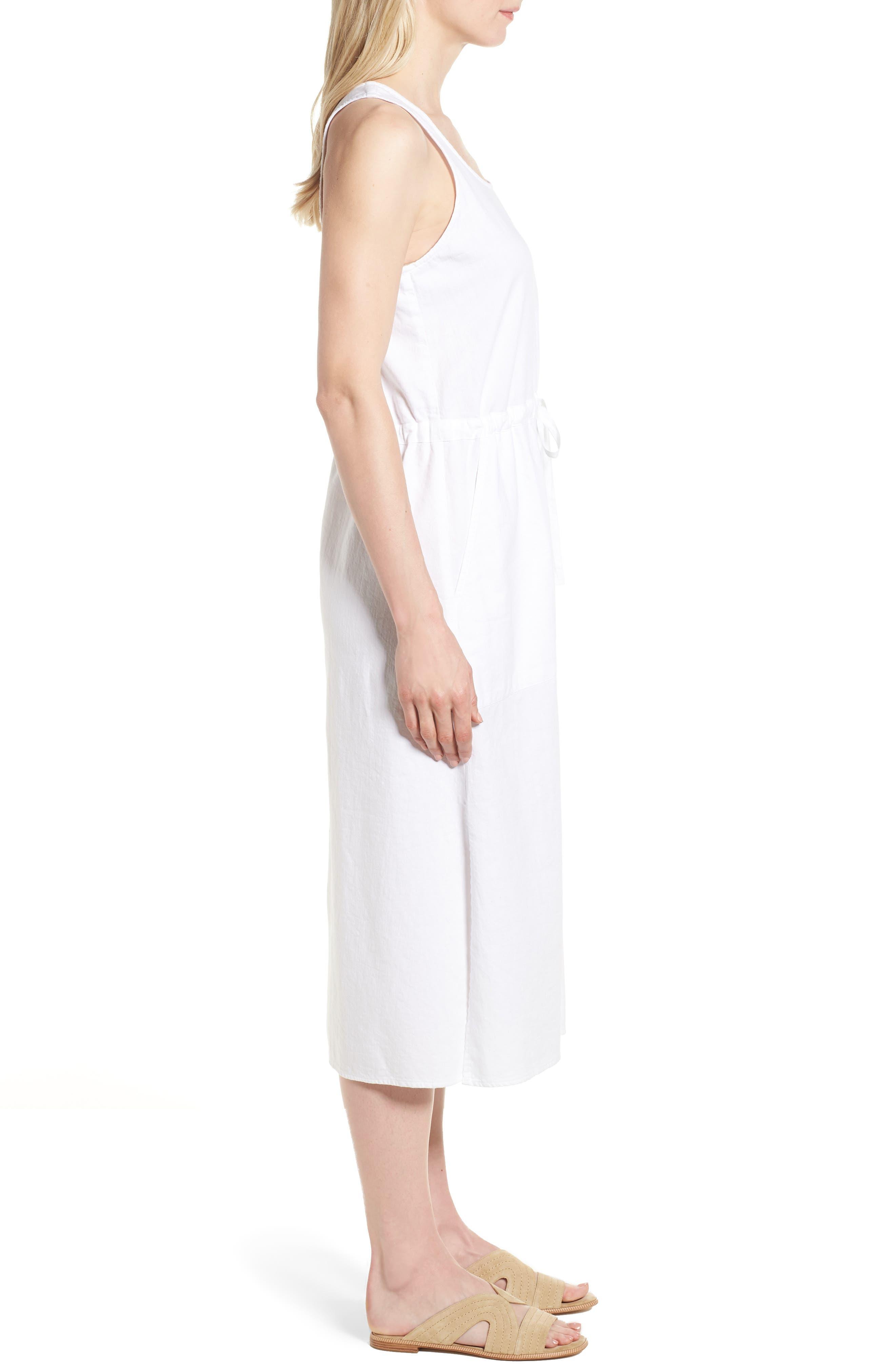 Drawstring Organic Cotton Midi Dress,                             Alternate thumbnail 3, color,                             White