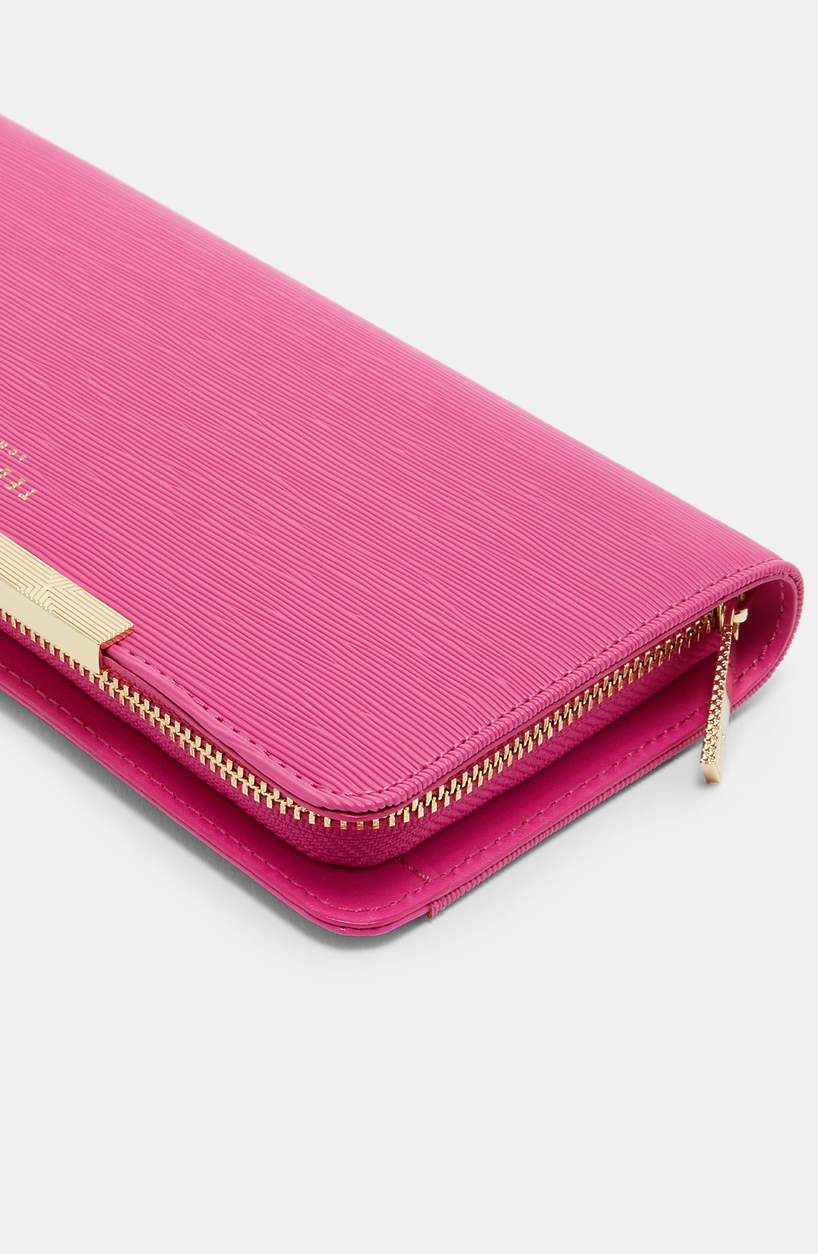 Yasmine Plissé Leather Matinée Wallet,                             Alternate thumbnail 4, color,                             Pink
