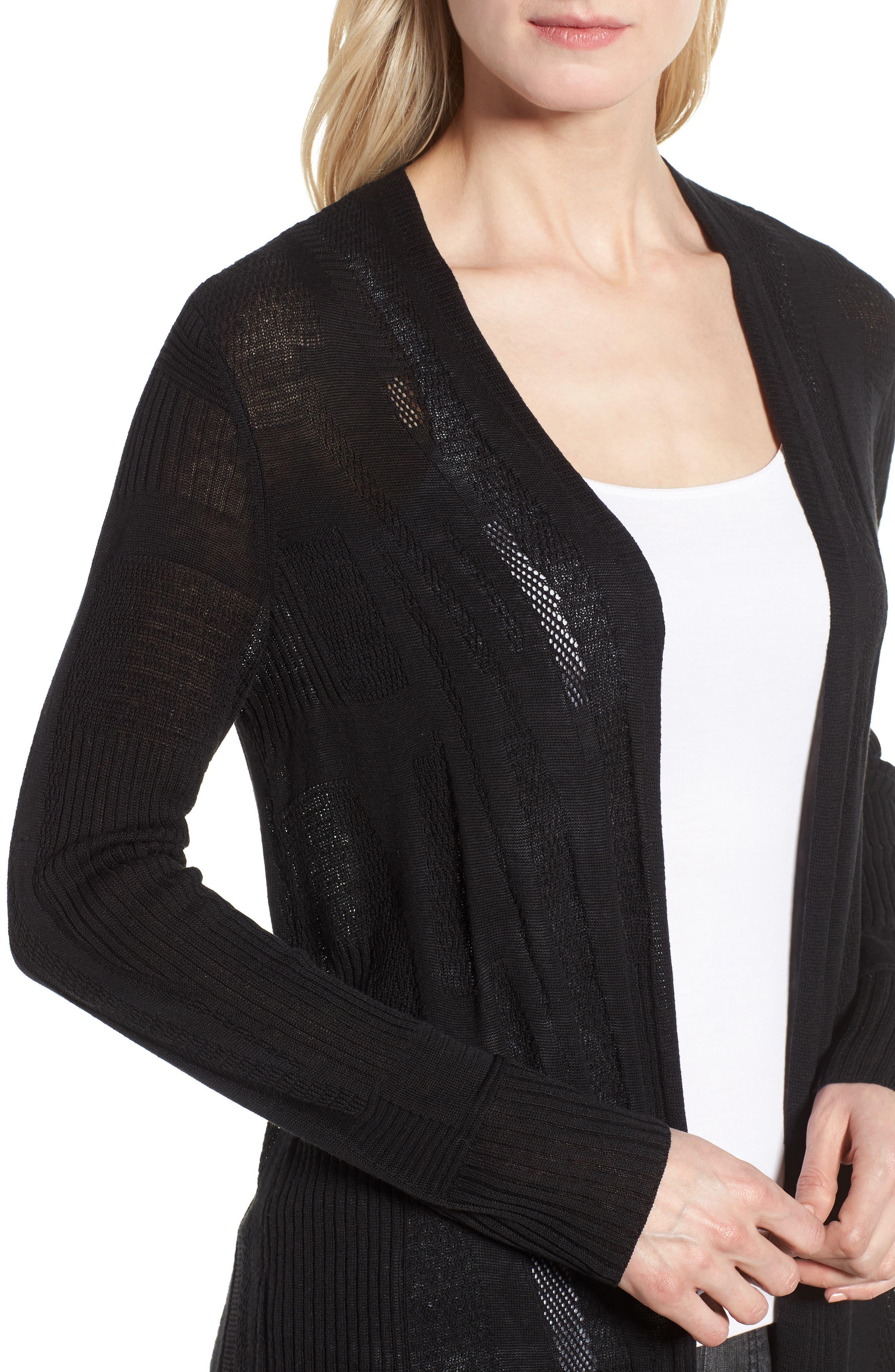 Simple Silk & Organic Linen Cardigan,                             Alternate thumbnail 4, color,                             Black