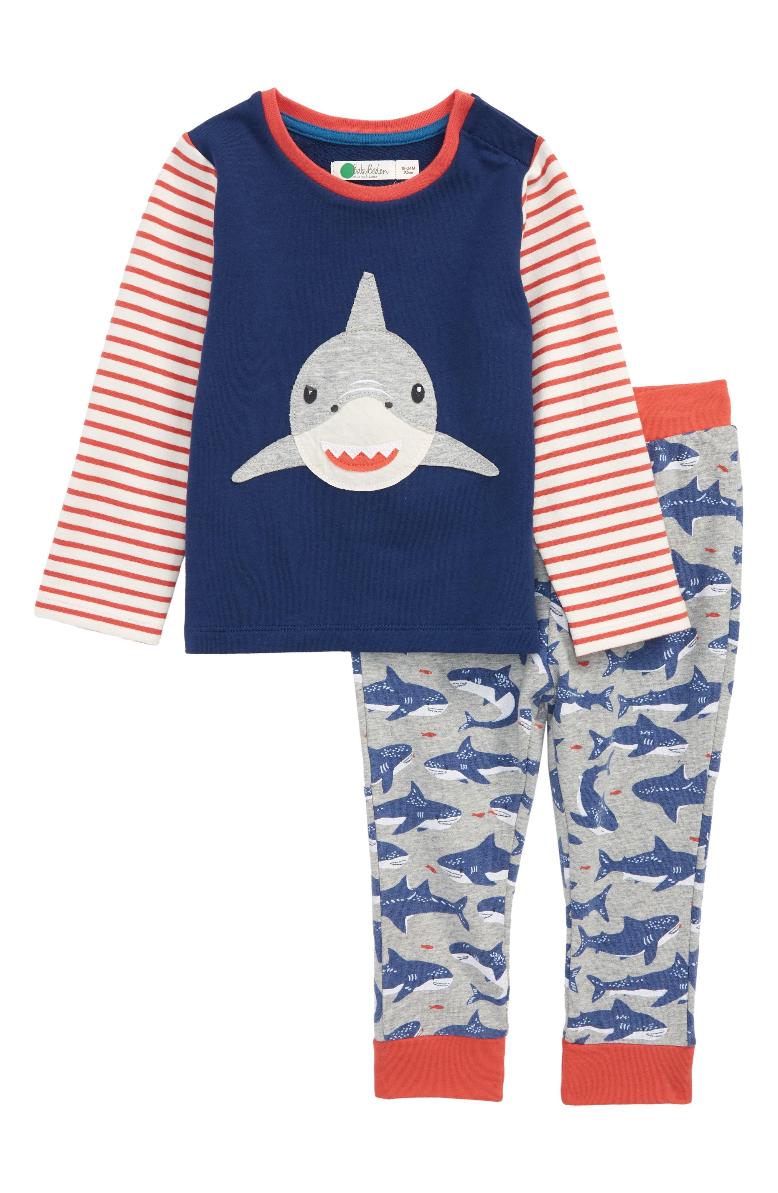 Fun Shark Appliqué Jersey Shirt & Pants Set,                             Main thumbnail 1, color,                             Beacon Blue Shark