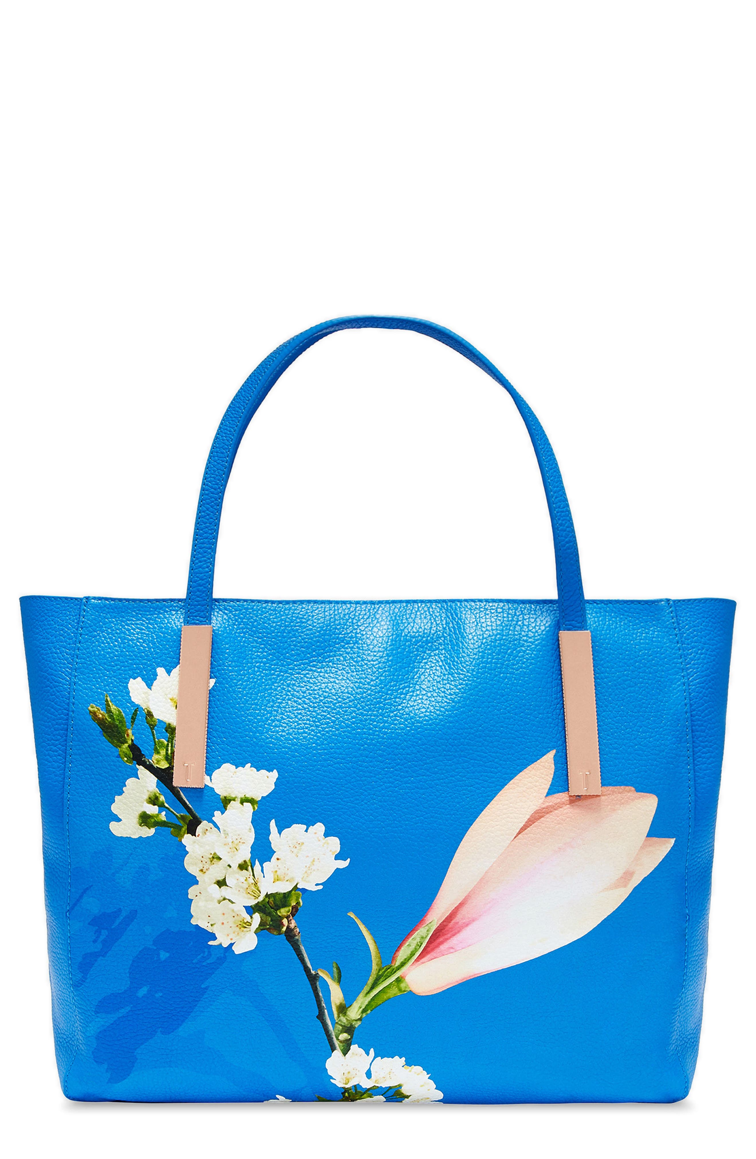 Haanaa Harmony Pebbled Leather Tote,                         Main,                         color, Bright Blue