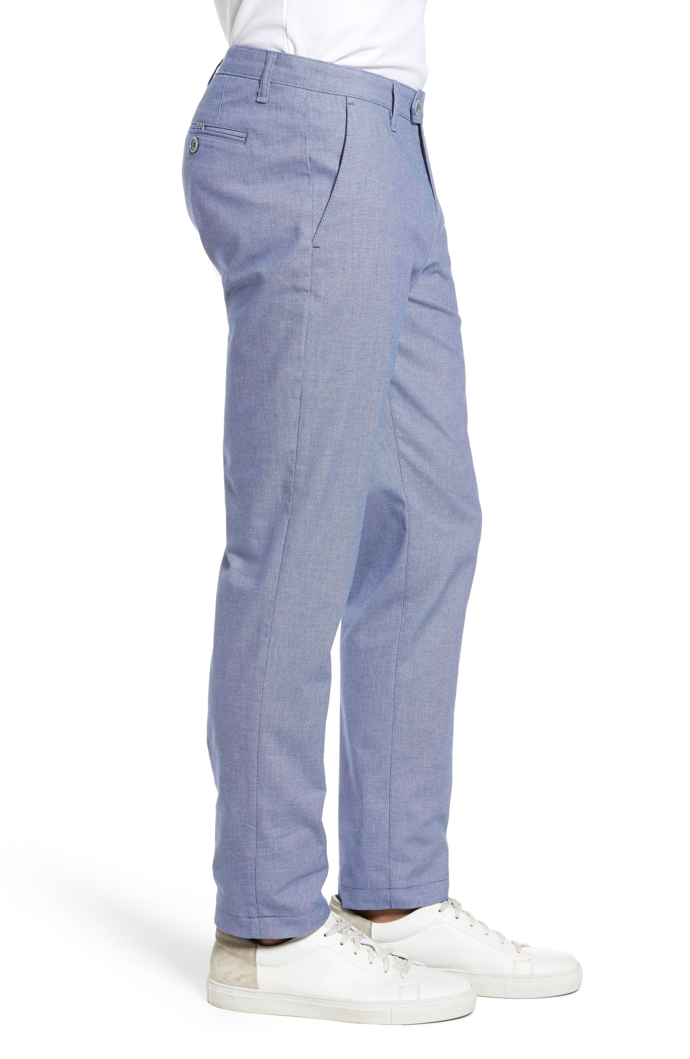Holldet Flat Front Stretch Solid Cotton Pants,                             Alternate thumbnail 3, color,                             Light Blue