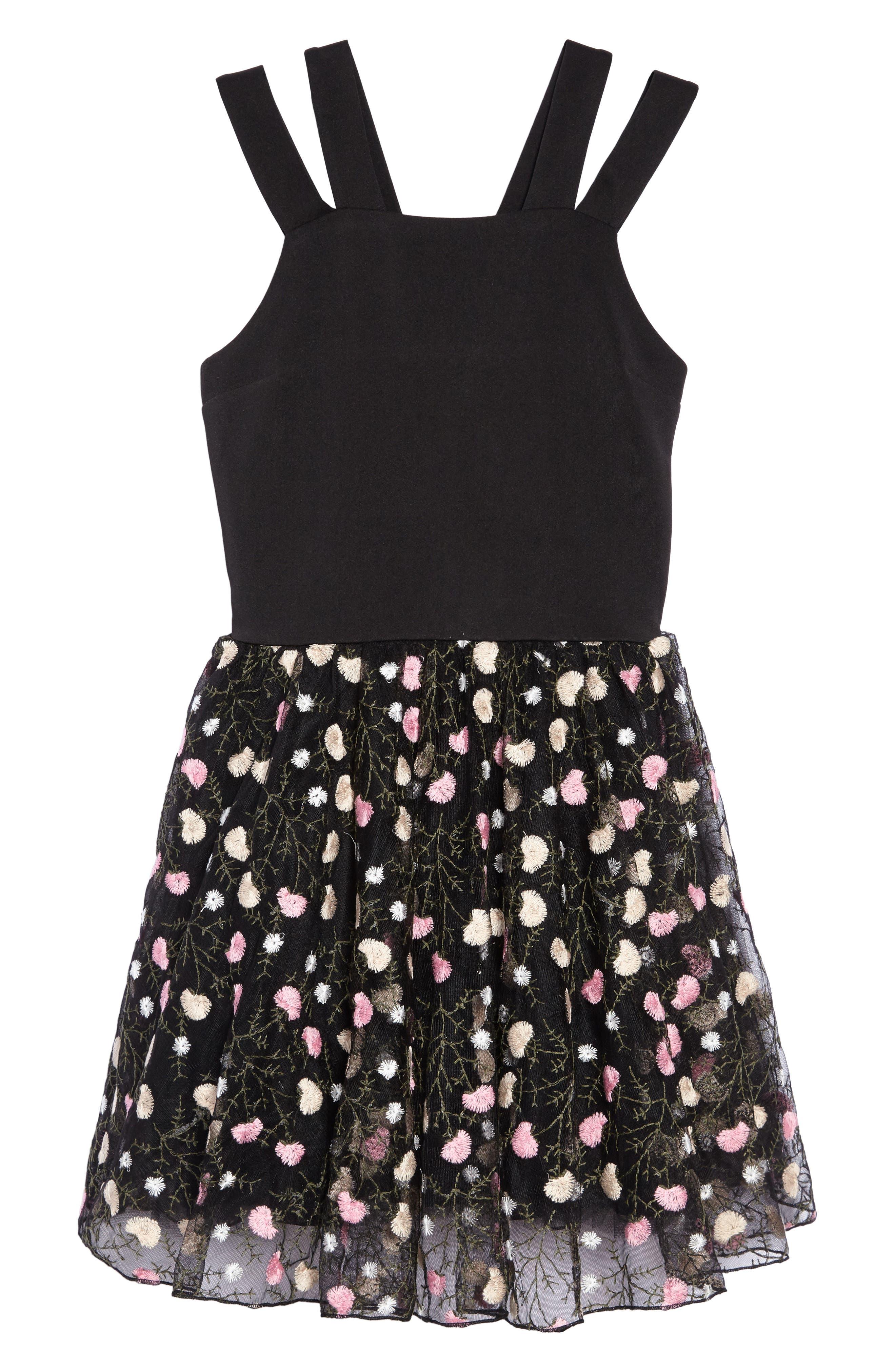 Nancy Embroidered Mesh Dress,                             Main thumbnail 1, color,                             Black