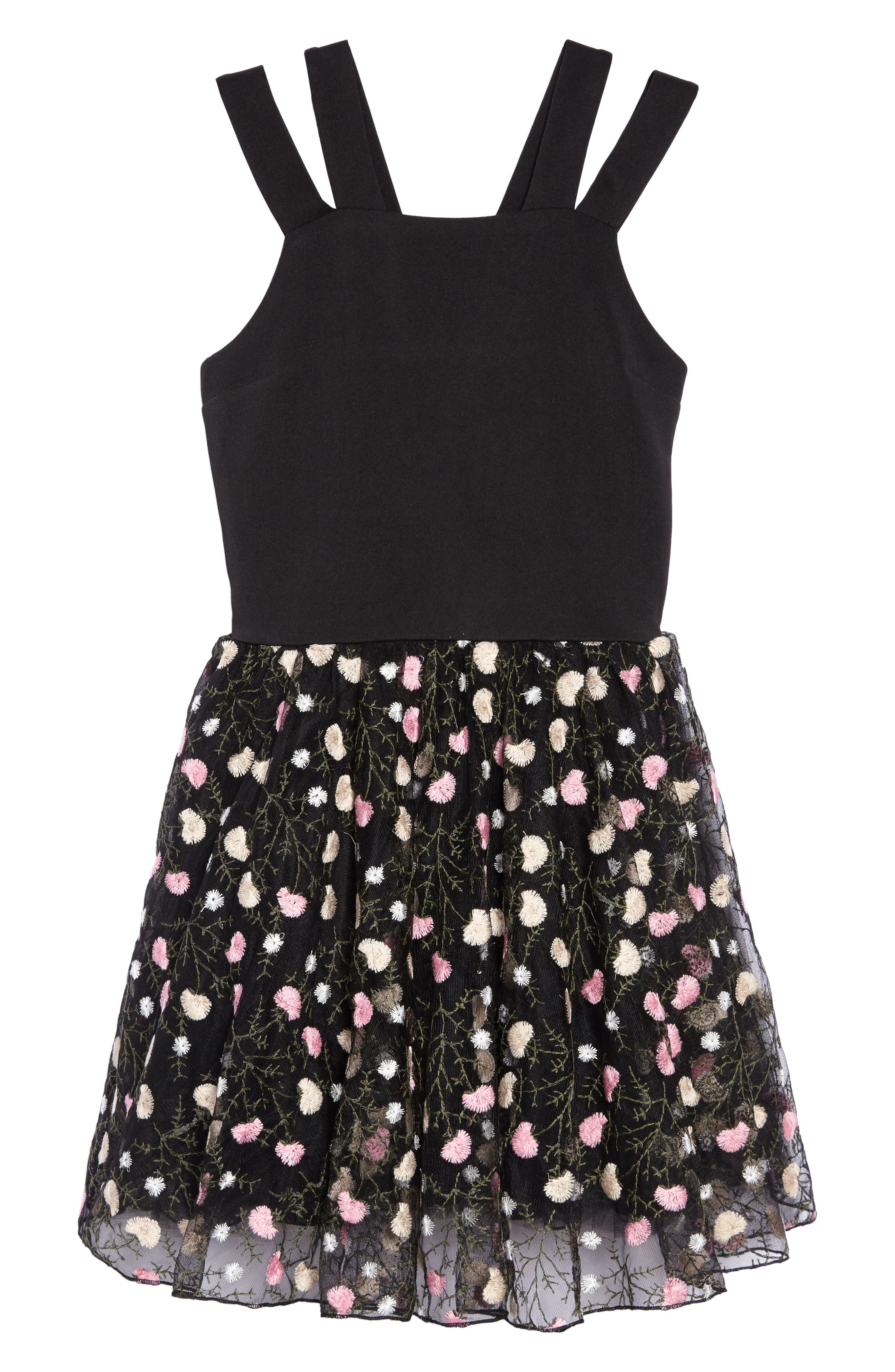 Nancy Embroidered Mesh Dress,                         Main,                         color, Black