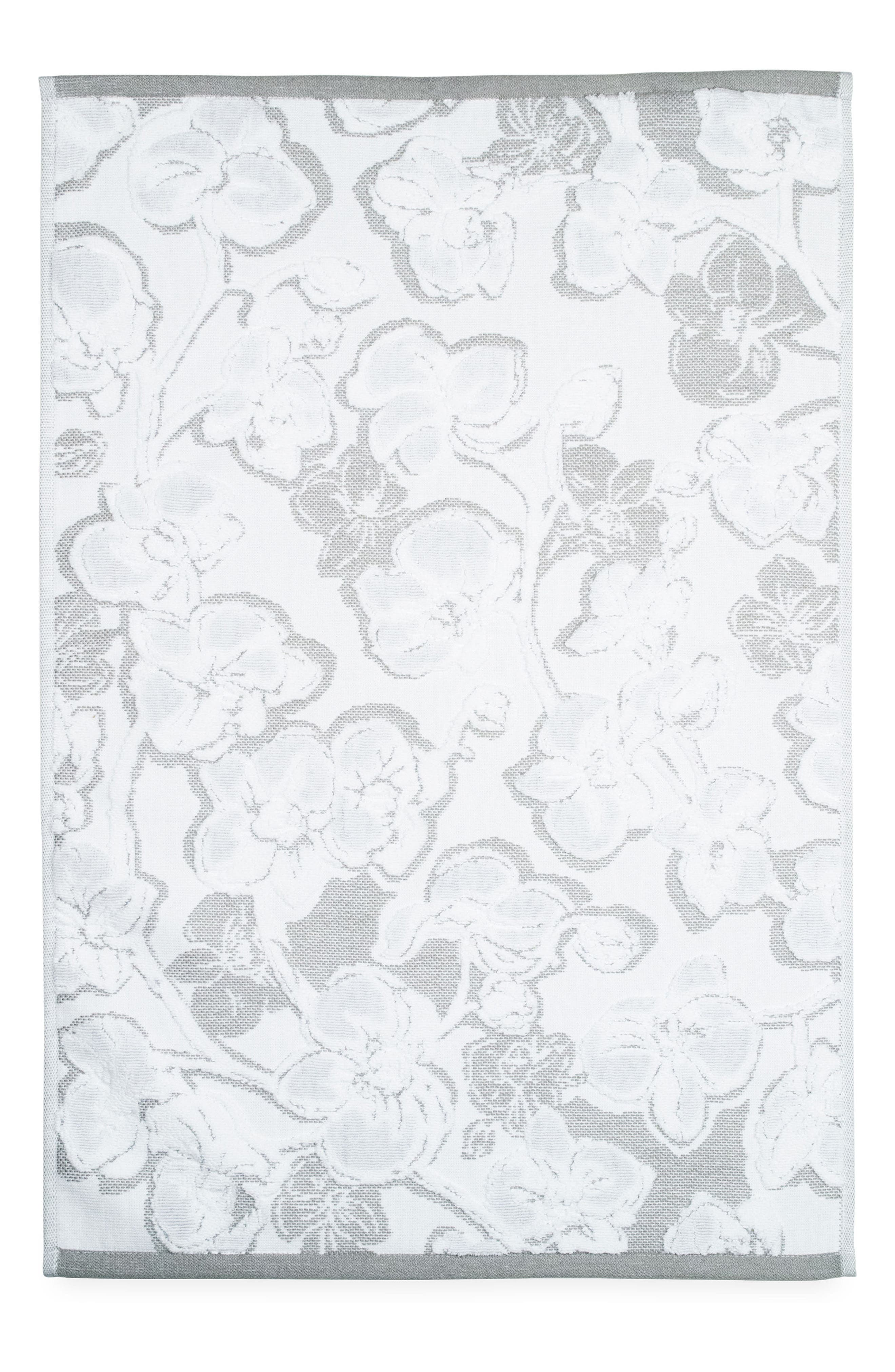 Orchid Hand Towel,                         Main,                         color, Grey