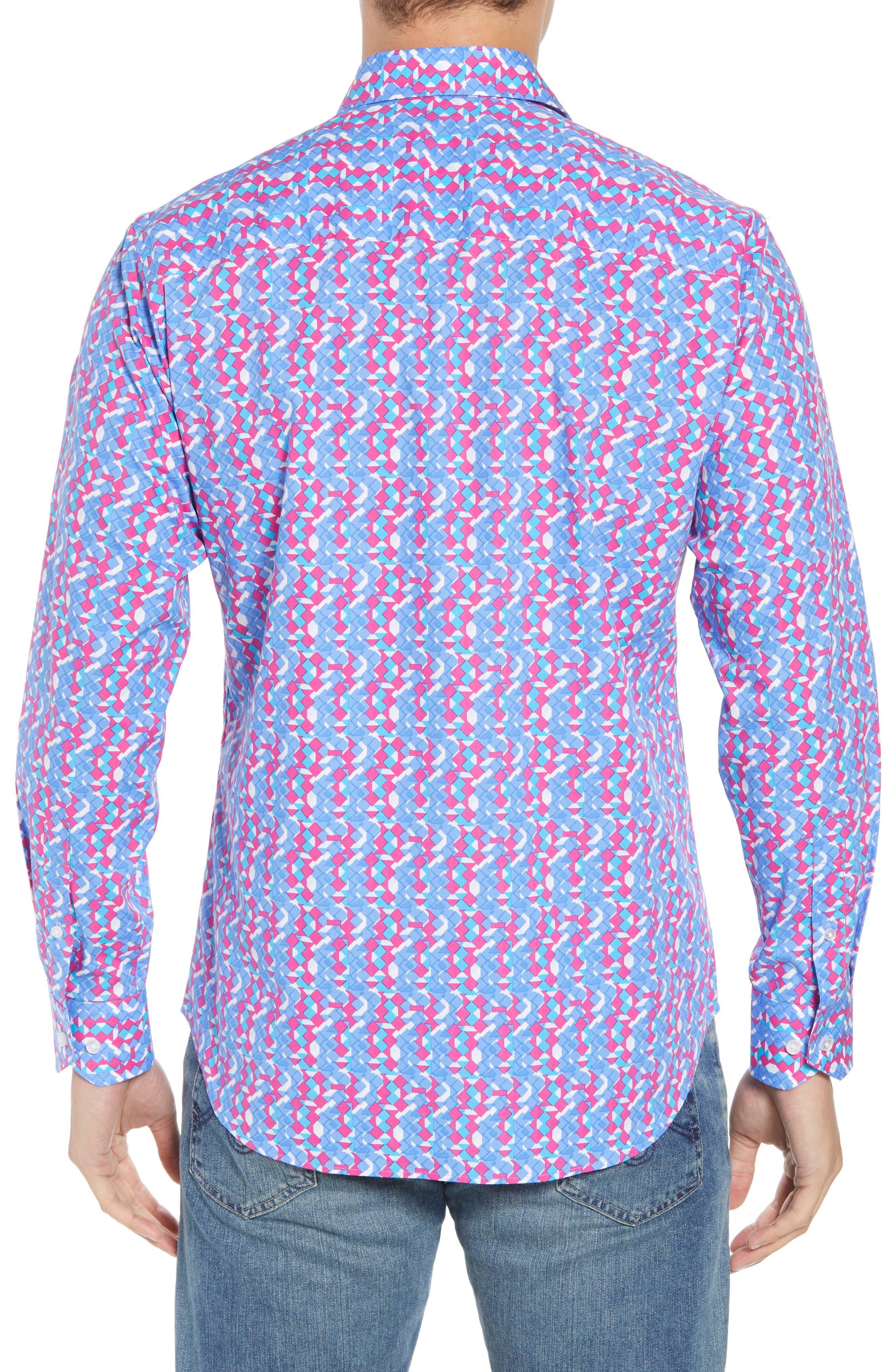 Beal Regular Fit Geo Print Sport Shirt,                             Alternate thumbnail 2, color,                             Peri Blue