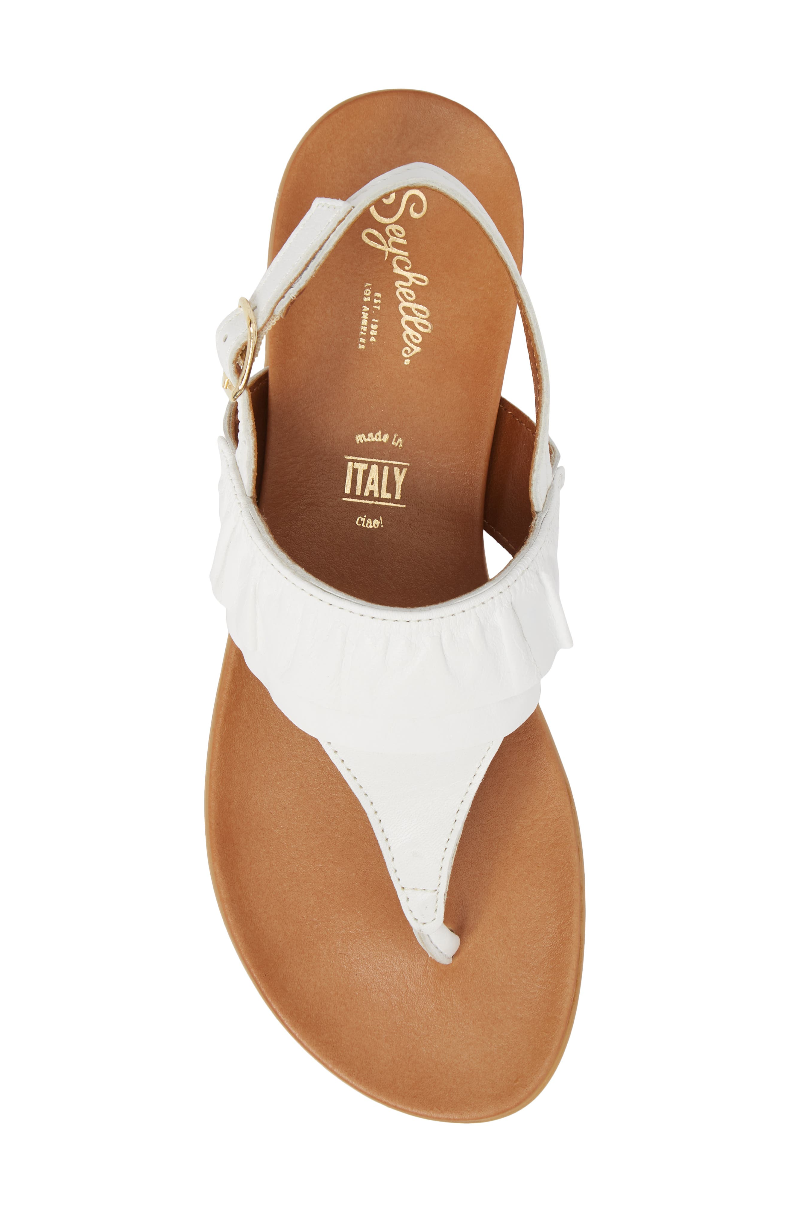 Seclusion Ruffle Sandal,                             Alternate thumbnail 5, color,                             White Leather