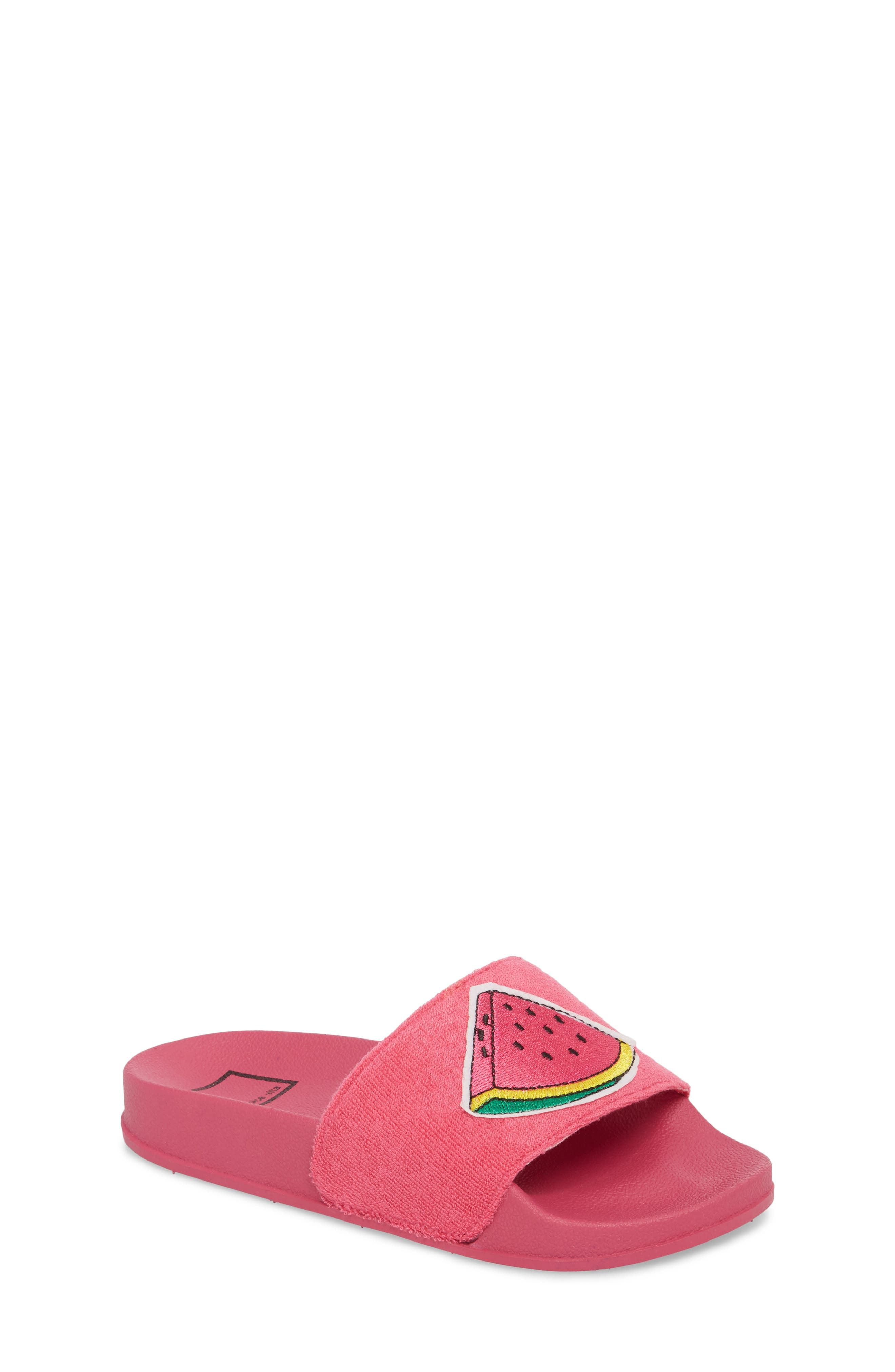 Selby Fruit Embroidered Sport Slide,                             Main thumbnail 1, color,                             Fuchsia
