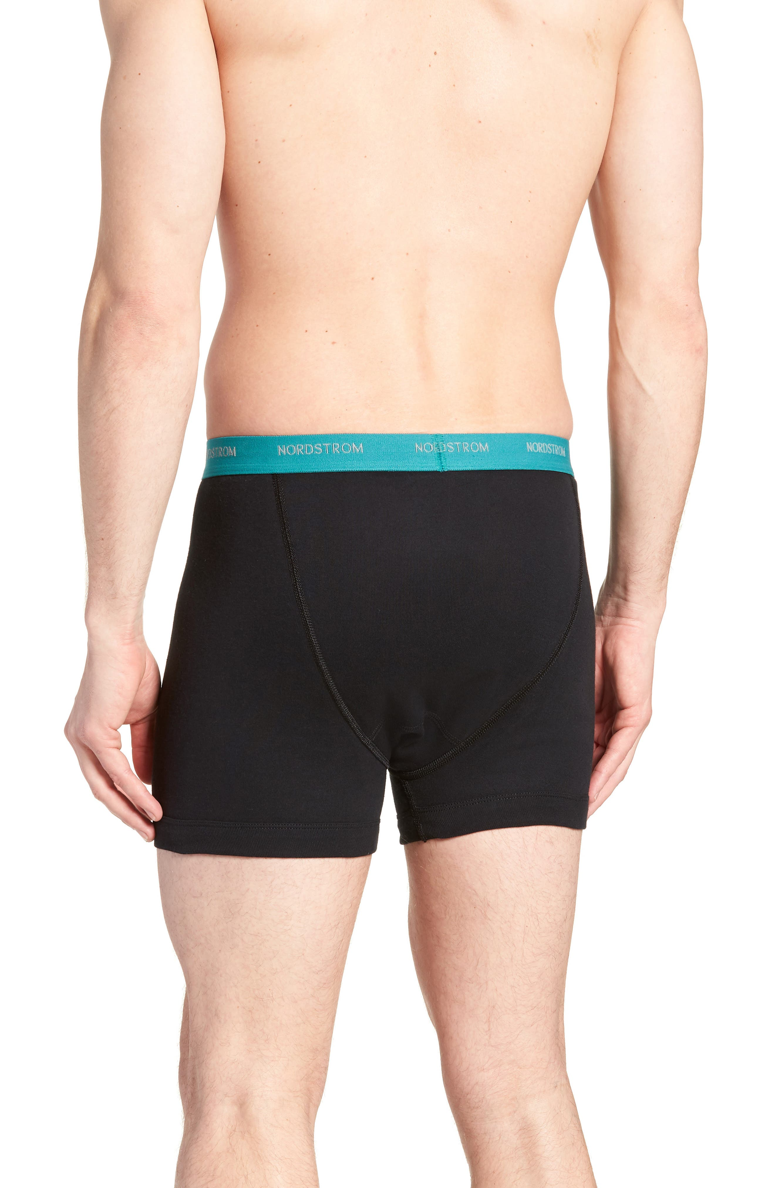 3-Pack Supima<sup>®</sup> Cotton Boxer Briefs,                             Alternate thumbnail 3, color,                             Black- Teal/ Green/ Lime