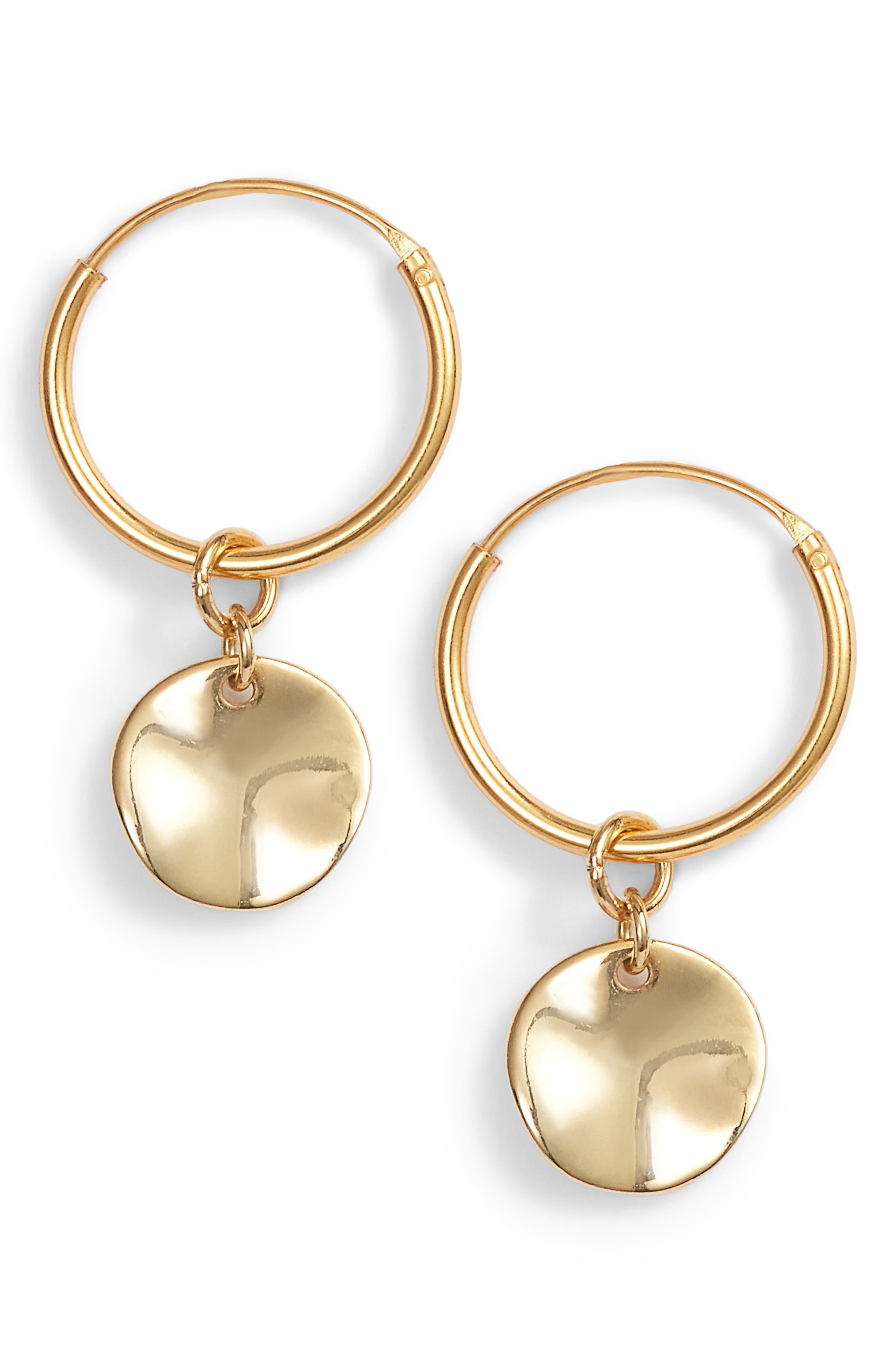 Flat Disc Drop Hoop Earrings,                             Main thumbnail 1, color,                             Gold