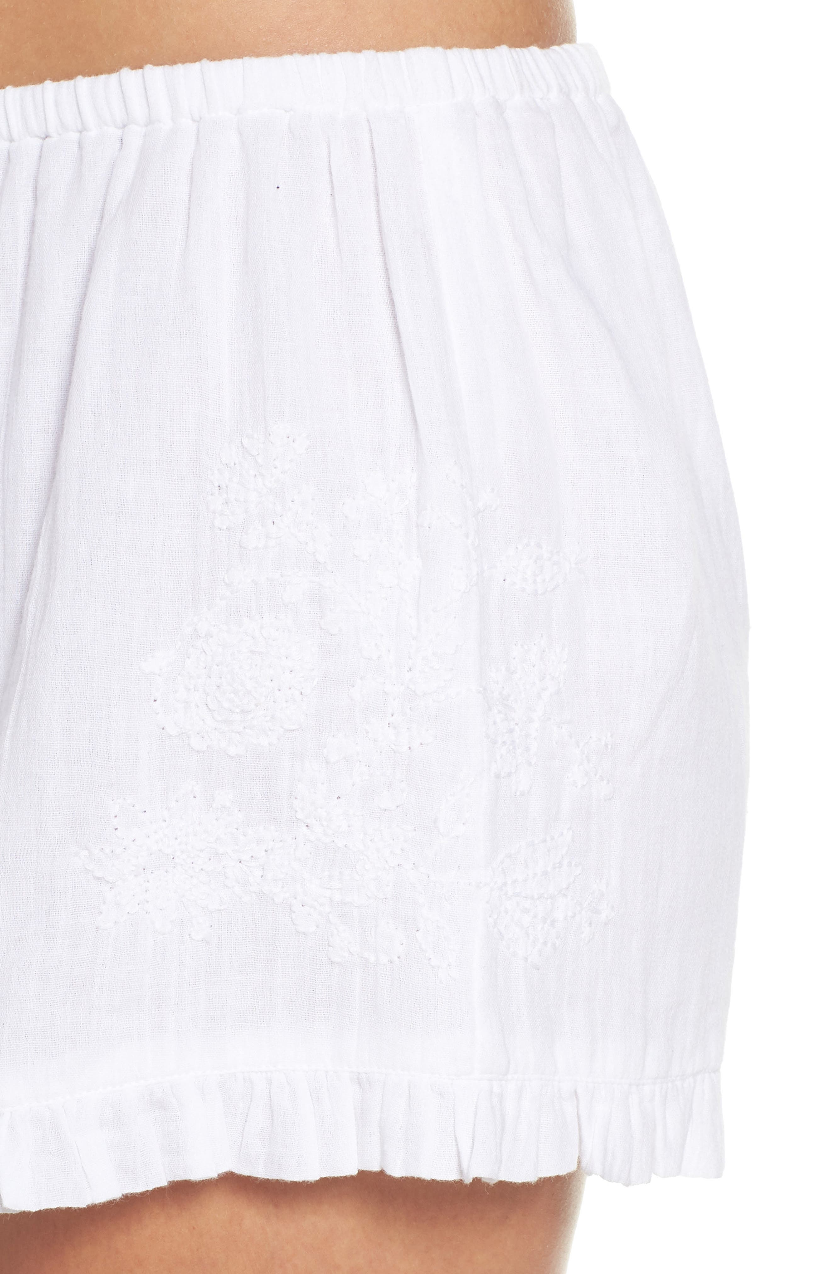 Cambria Ruffle Sleep Shorts,                             Alternate thumbnail 6, color,                             White