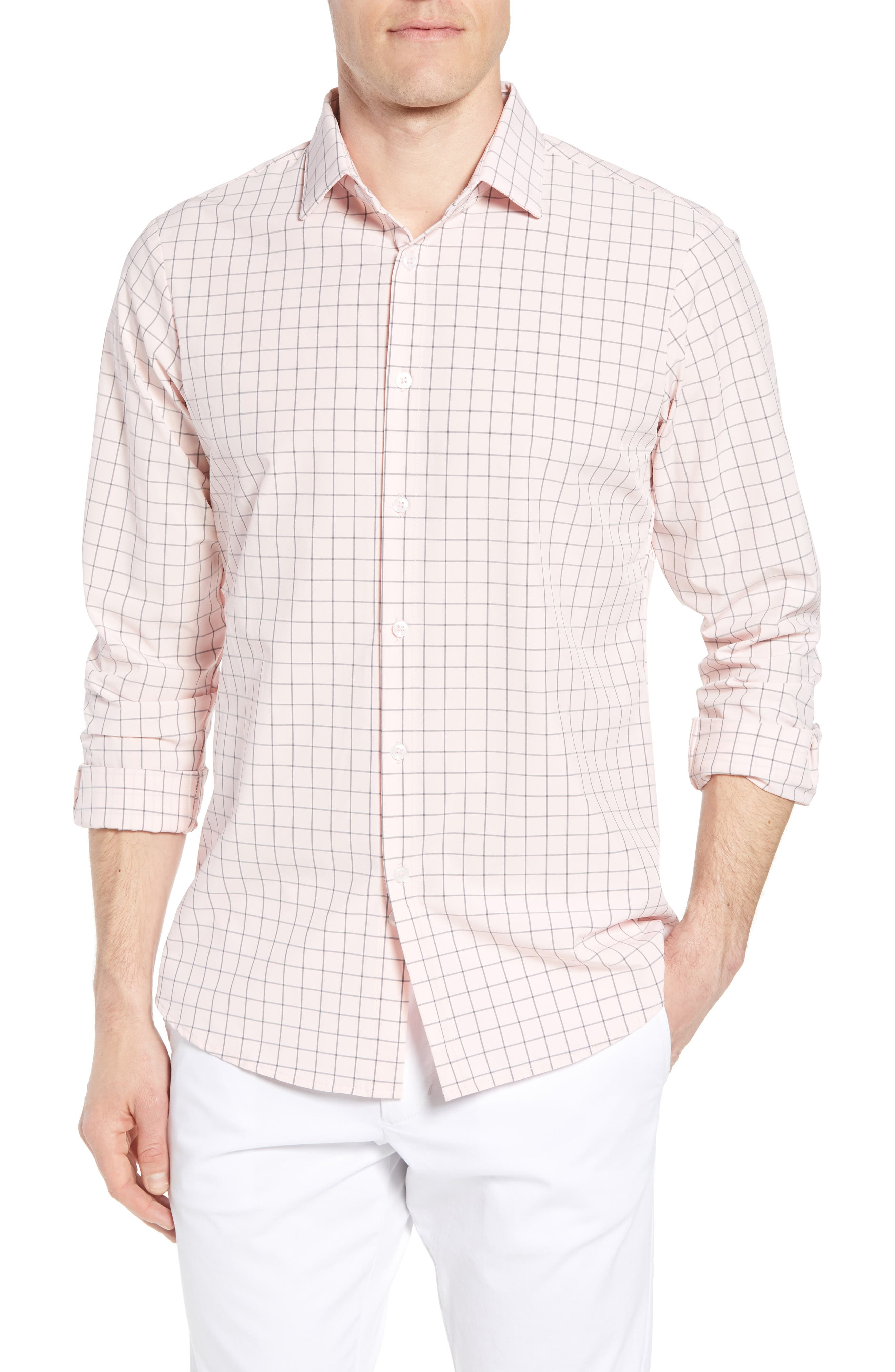 Andrews Slim Fit Windowpane Performance Sport Shirt,                         Main,                         color, Pink