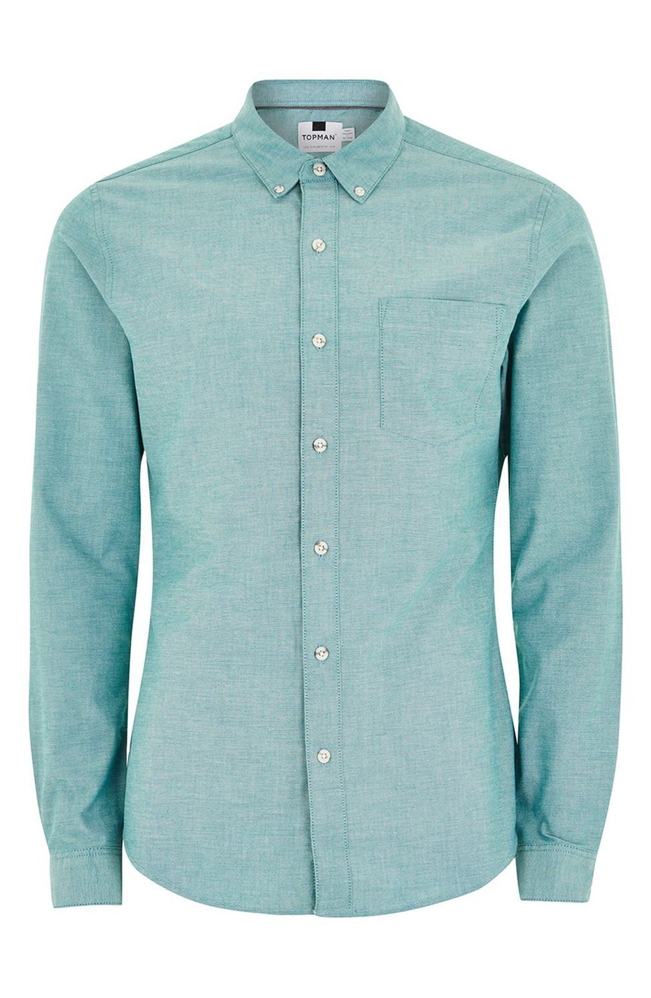 Muscle Fit Oxford Shirt,                             Alternate thumbnail 4, color,                             Blue