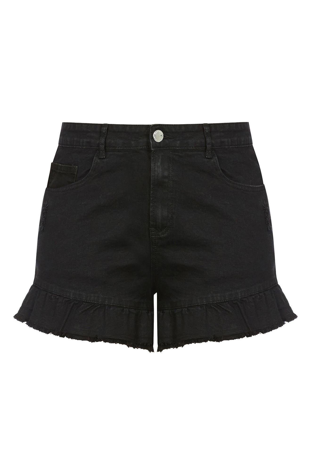 Flirty Frill Shorts,                             Alternate thumbnail 3, color,                             Black