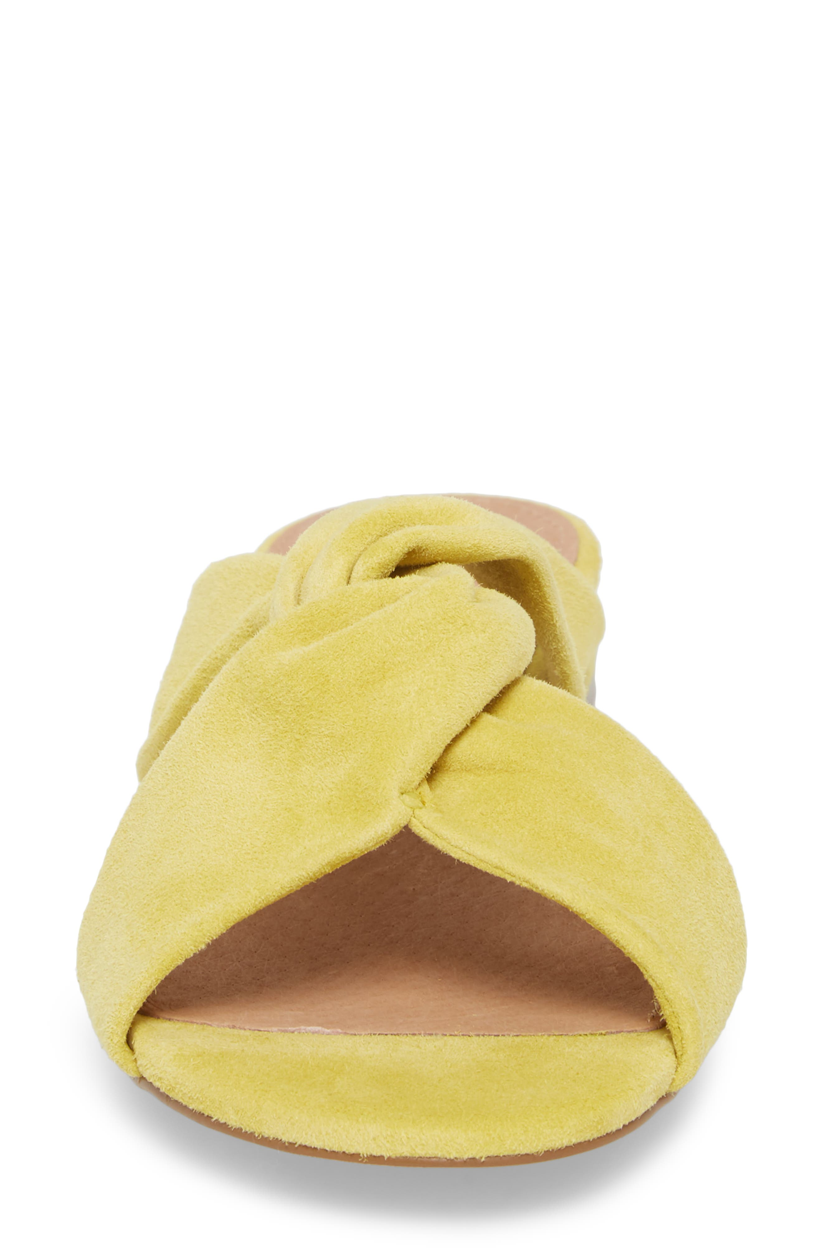 Andre Slide Sandal,                             Alternate thumbnail 4, color,                             Mustard Suede
