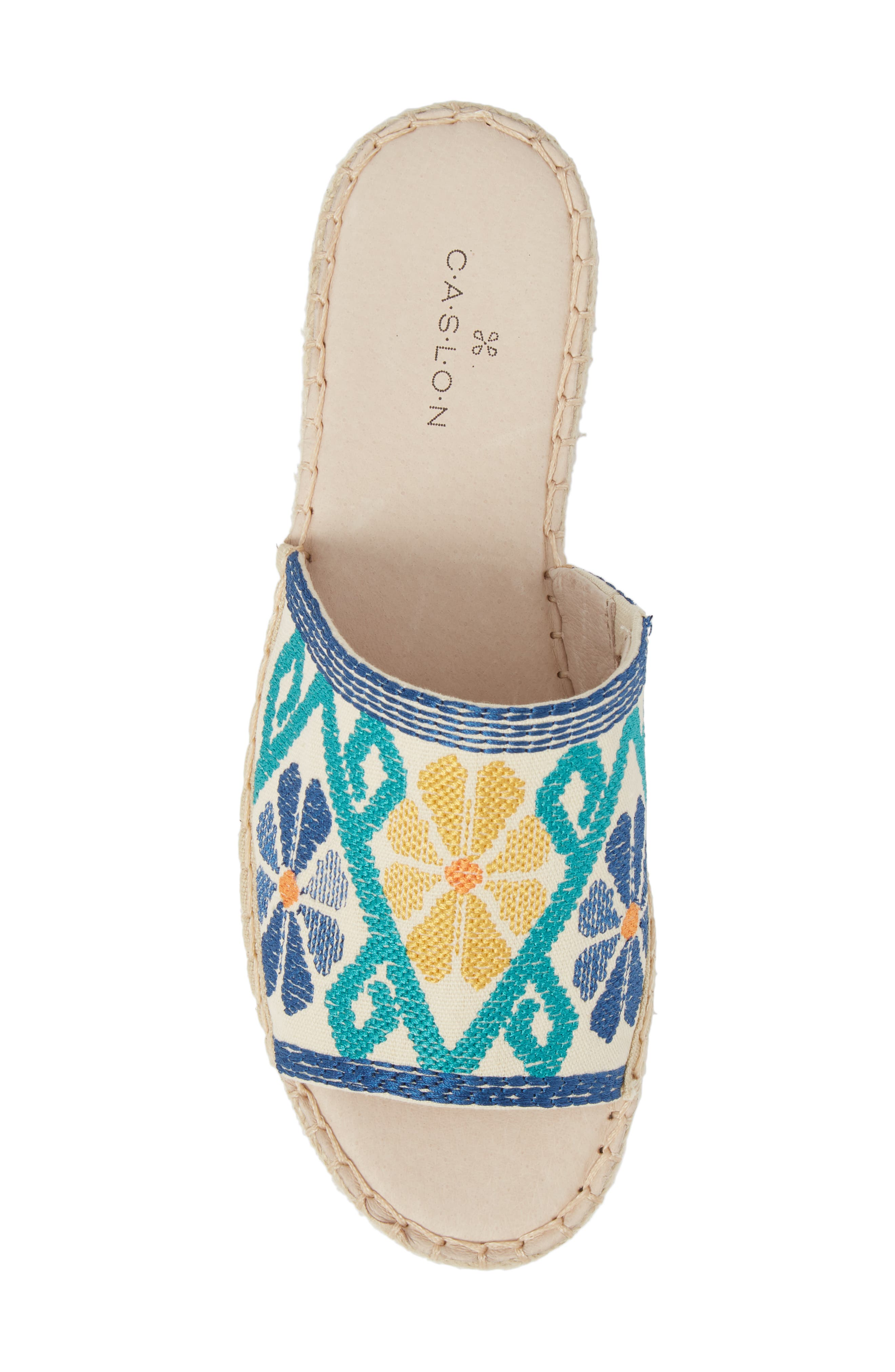 Cammy Platform Slide Sandal,                             Alternate thumbnail 6, color,                             Natural Embroidery Fabric