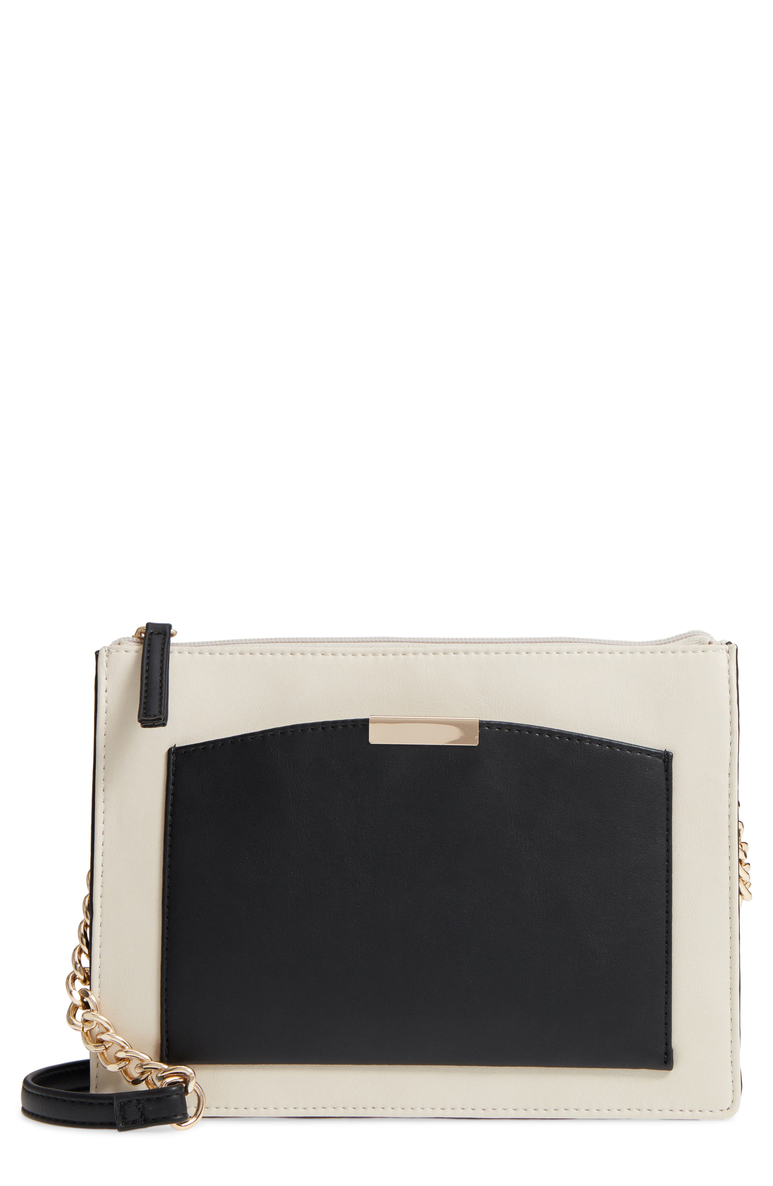 Colorblock Faux Leather Crossbody Bag,                         Main,                         color, Ivory/ Black