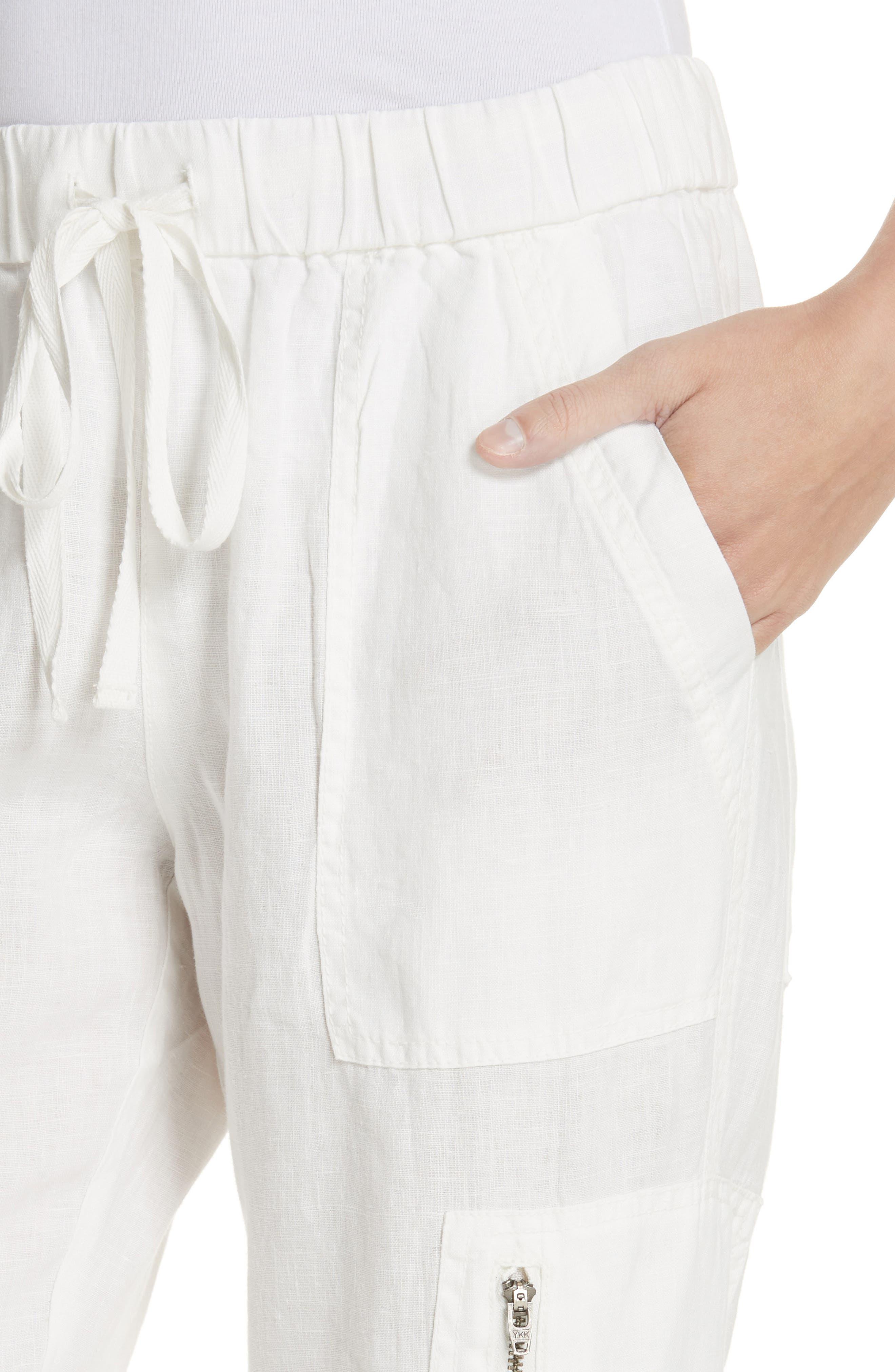 Florimel Crop Linen Jogger Pants,                             Alternate thumbnail 4, color,                             Porcelain