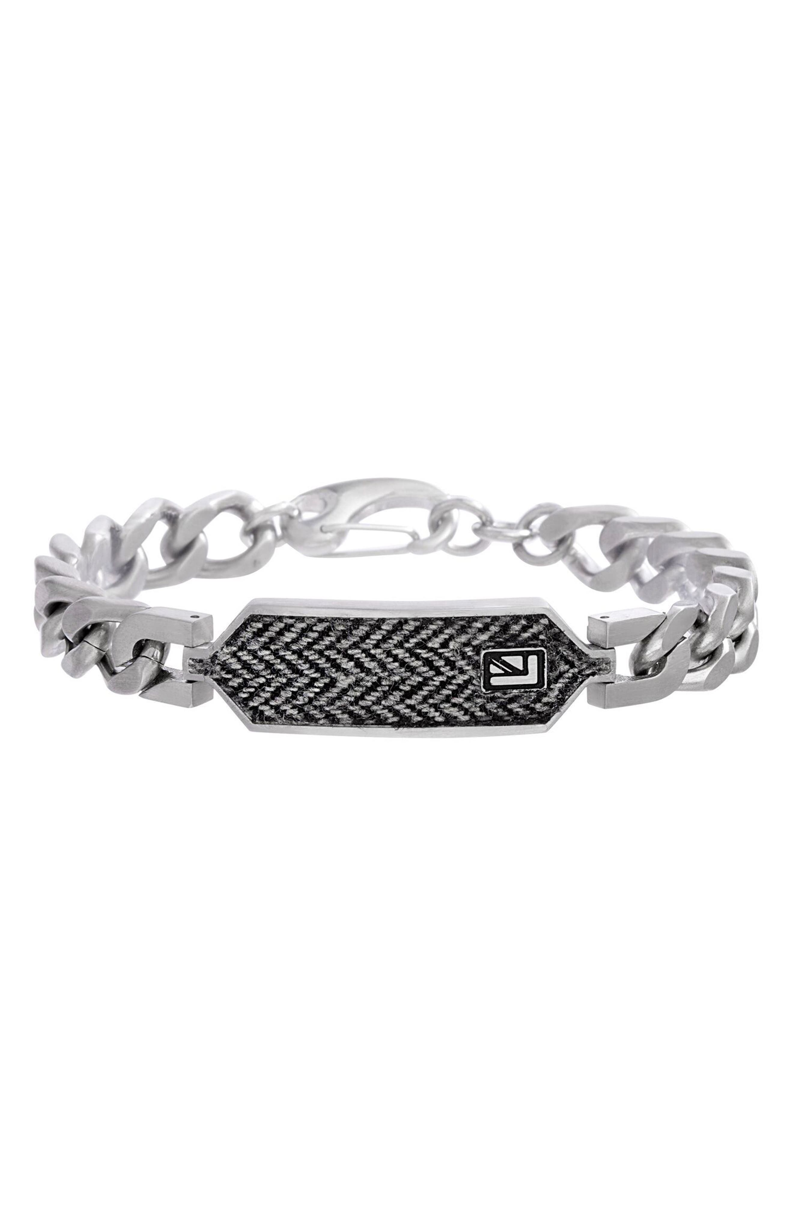 ID Plate Chain Bracelet,                         Main,                         color, Silver