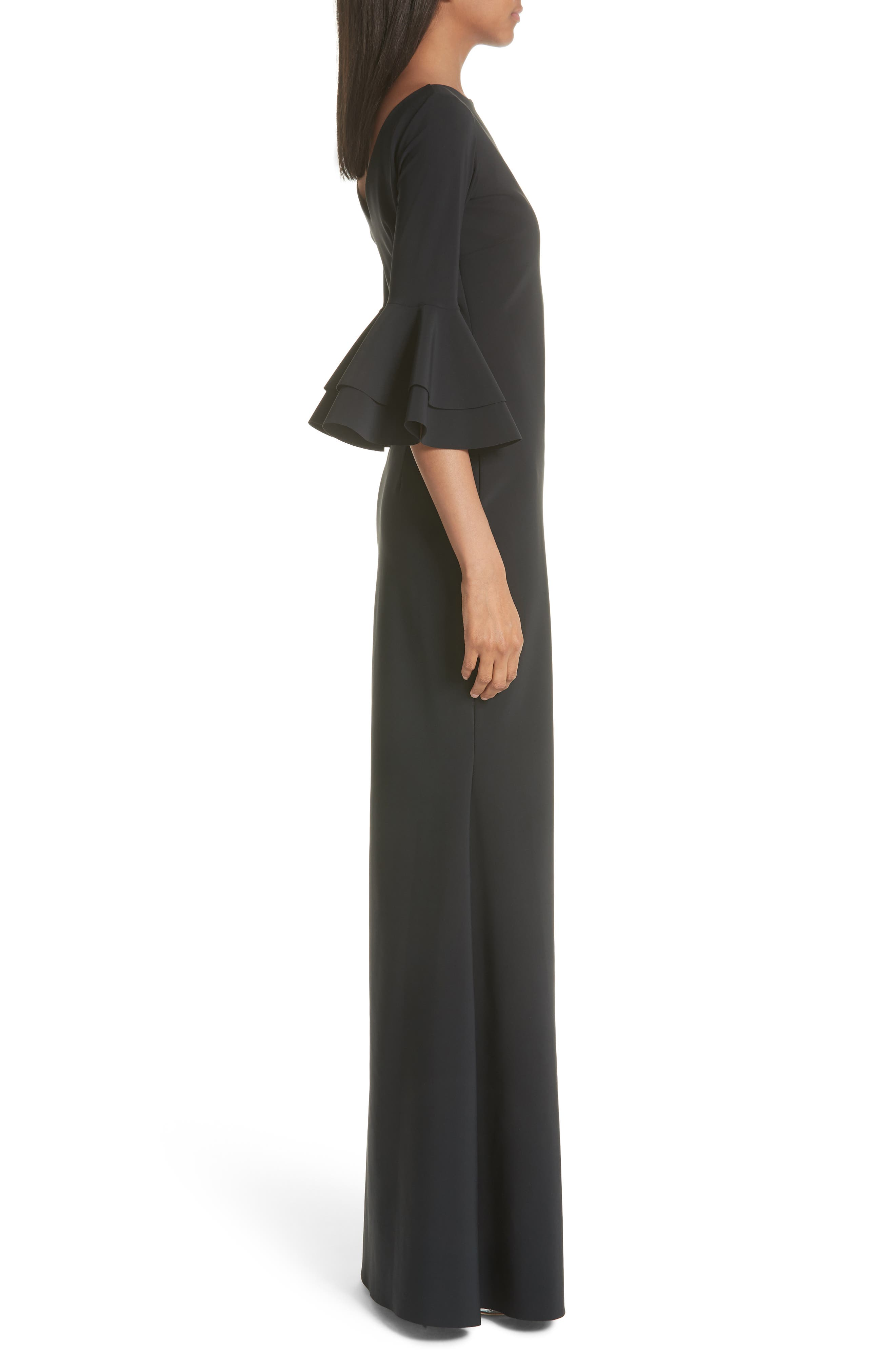Iva Ruffle Bell Sleeve Gown,                             Alternate thumbnail 3, color,                             Black