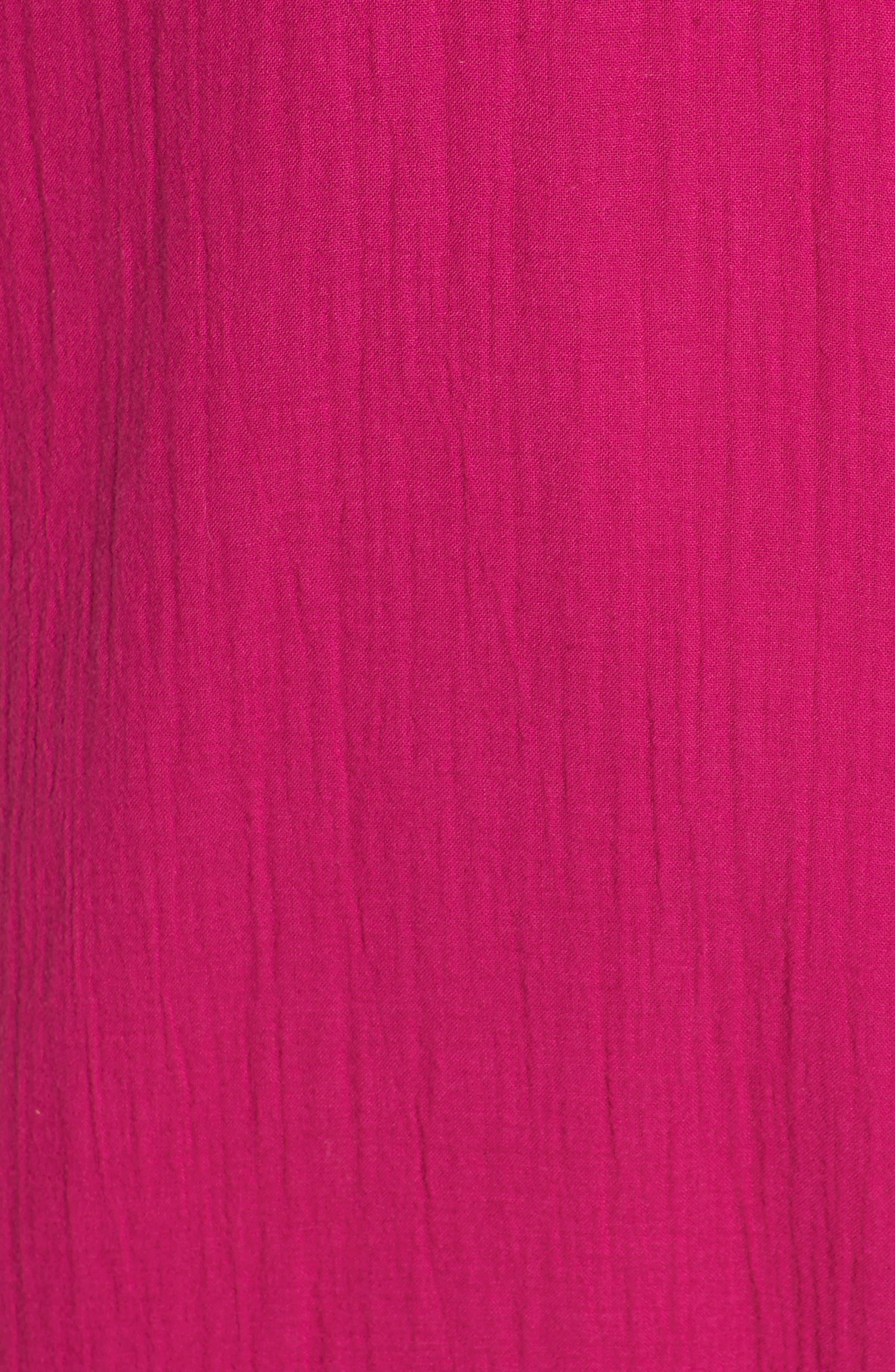 V-Neck Cotton Midi Dress,                             Alternate thumbnail 5, color,                             Cerise