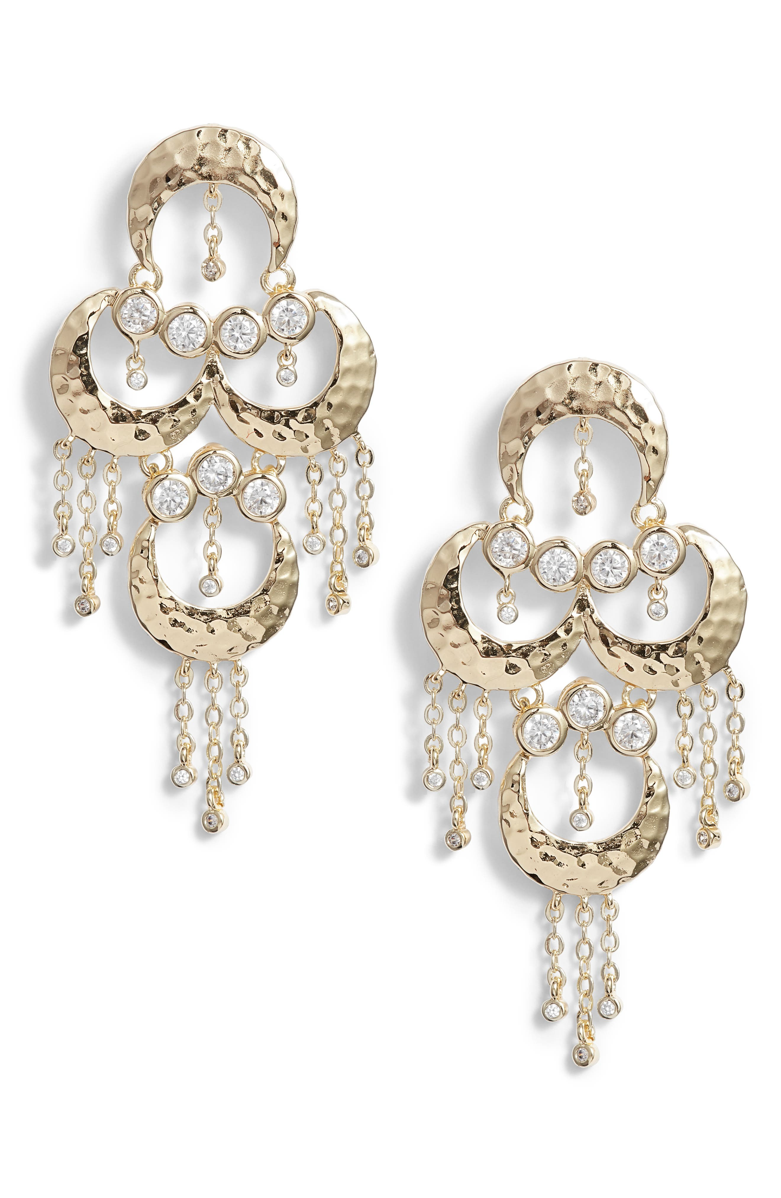 Tran Baby Chandelier Earrings,                         Main,                         color, Gold/ White Cz